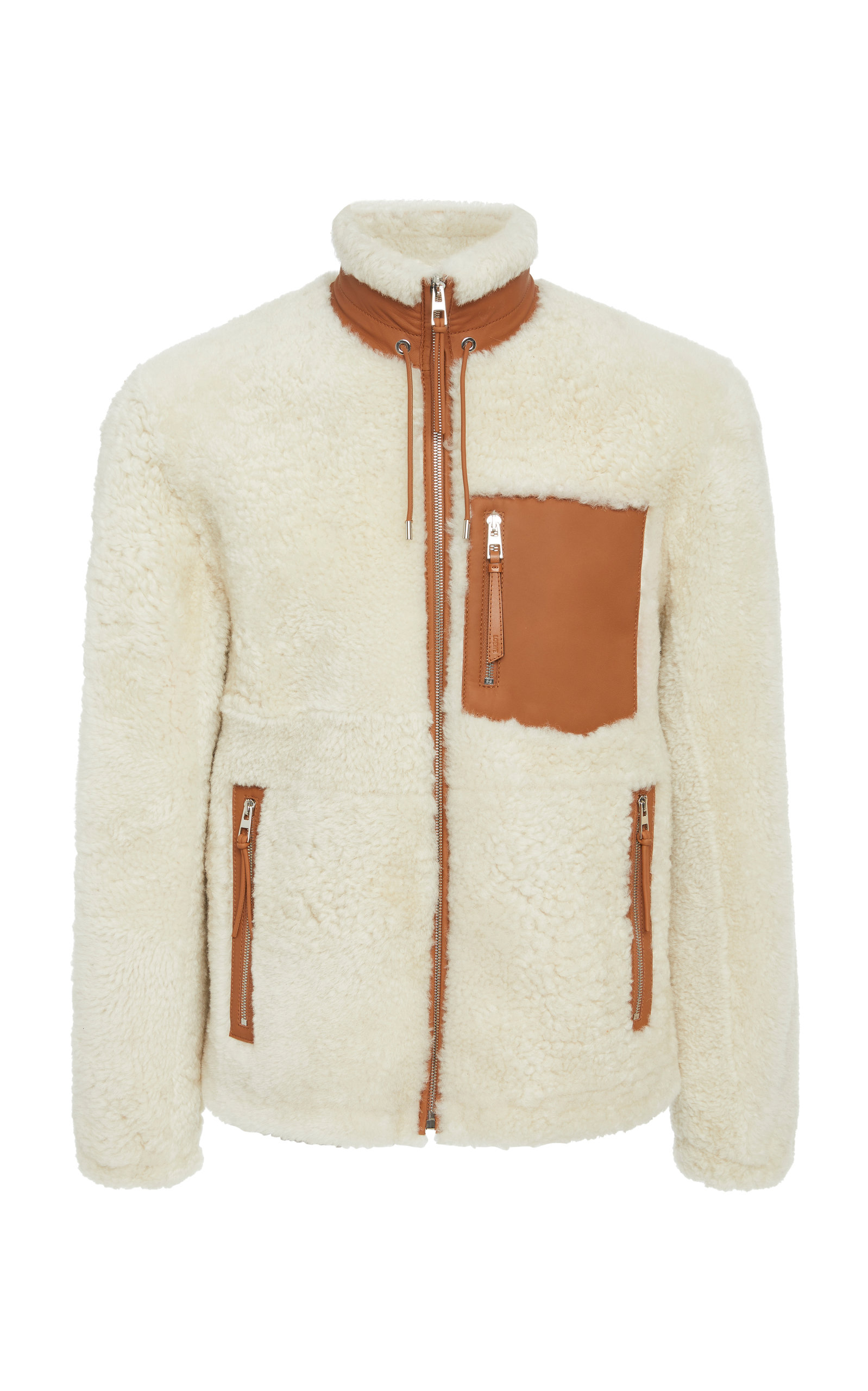 00b43cc263ca Leather-Trimmed Shearling Jacket by Loewe