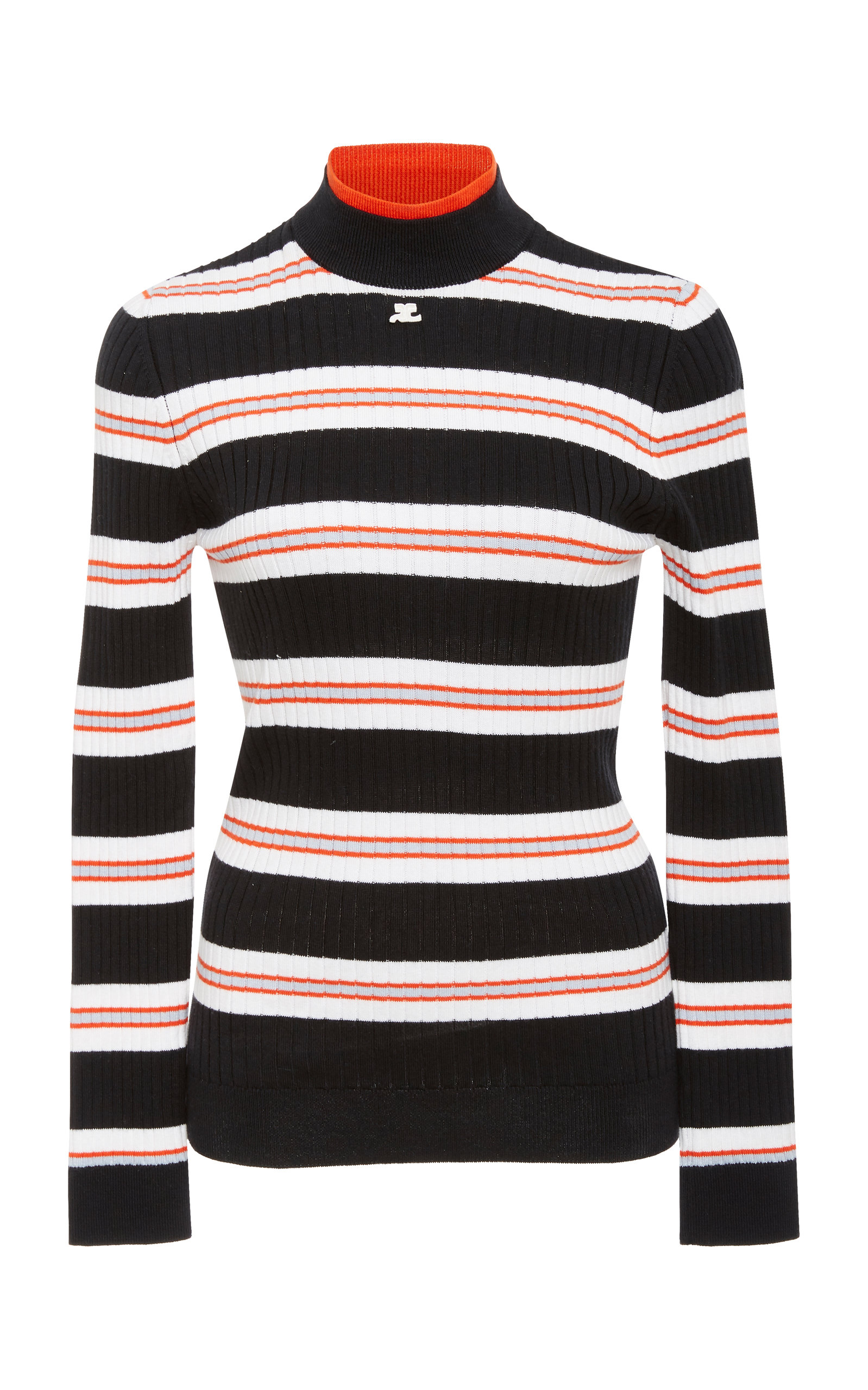 COURRÈGES Striped Rib-Knit Sweater in Blue