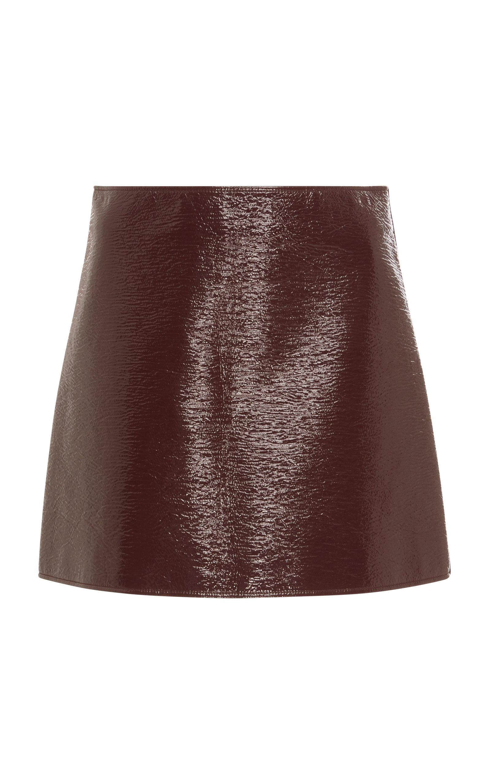 COURRÈGES Logo Wrinkled Vinyl Mini Skirt in Red