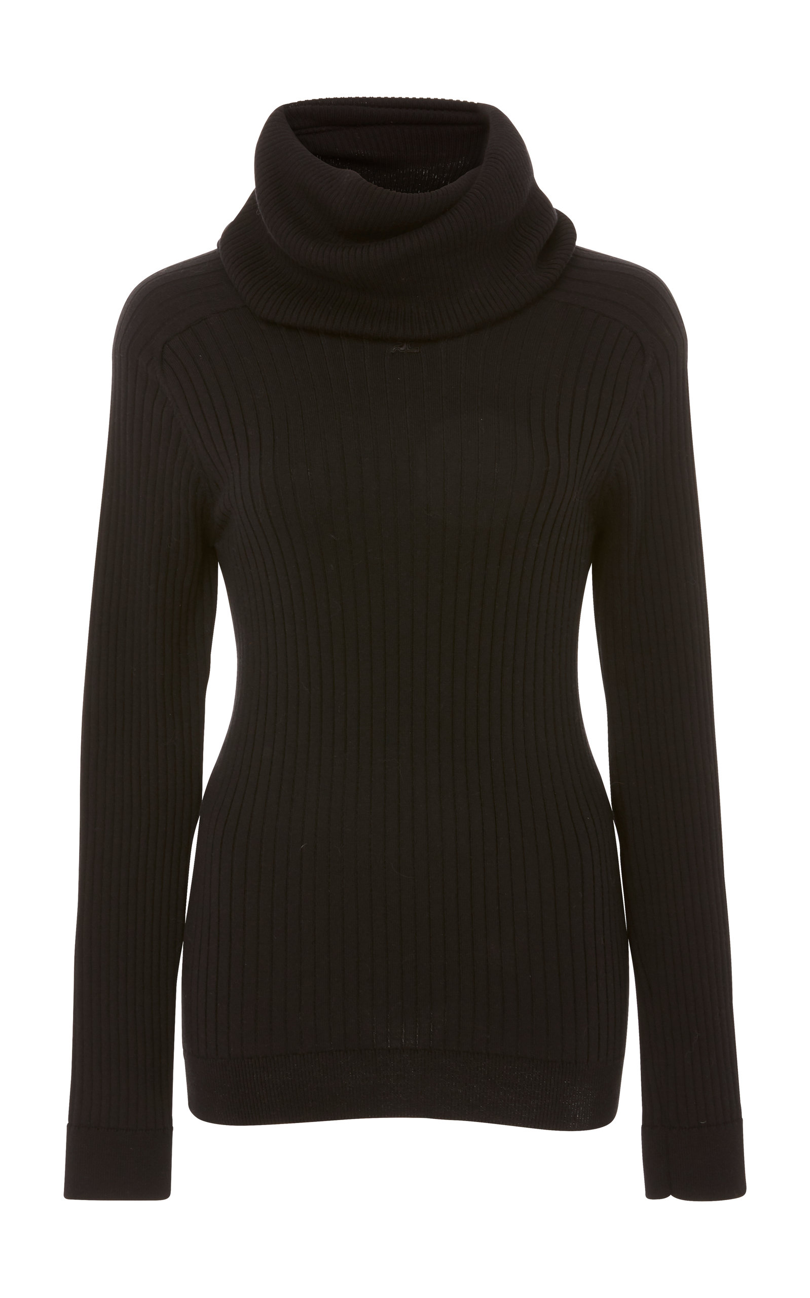 COURRÈGES Ribbed Cotton And Cashmere-Blend Turtleneck Sweater in Black