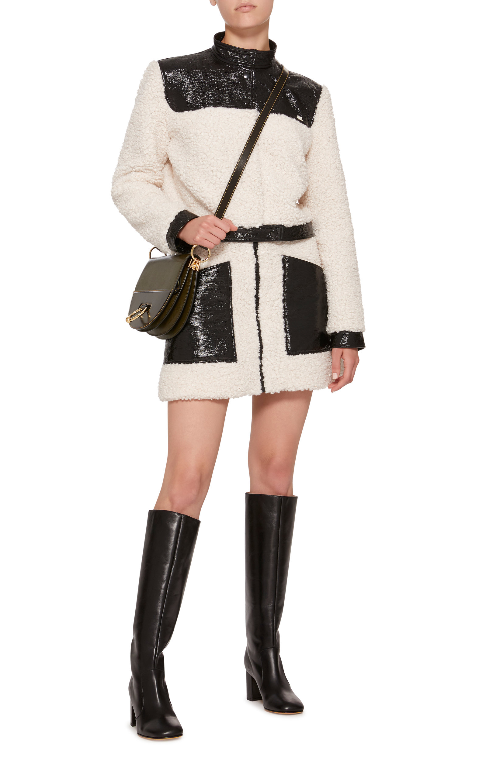 Mini Paneled Courrèges In Skirt Faux Blackwhite And Vinyl Shearling wRSqZOT
