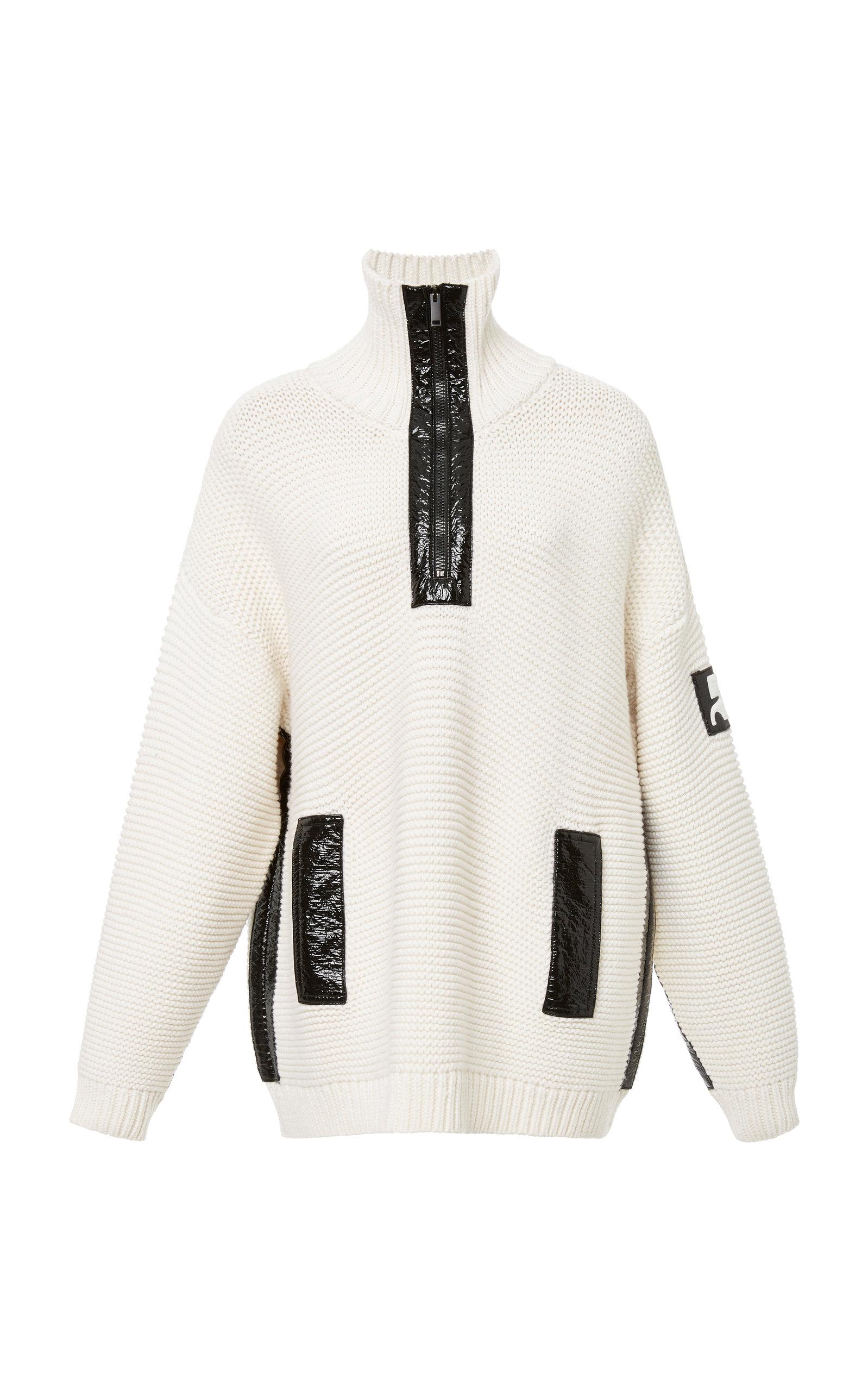 COURRÈGES Vinyl-Detail Zip-Up Wool Sweater in White