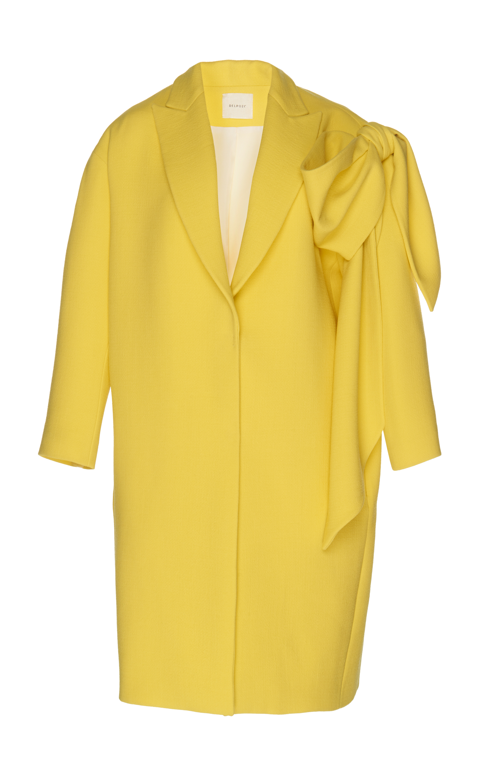 Virgin Wool Coat With Oversized Bow in Yellow