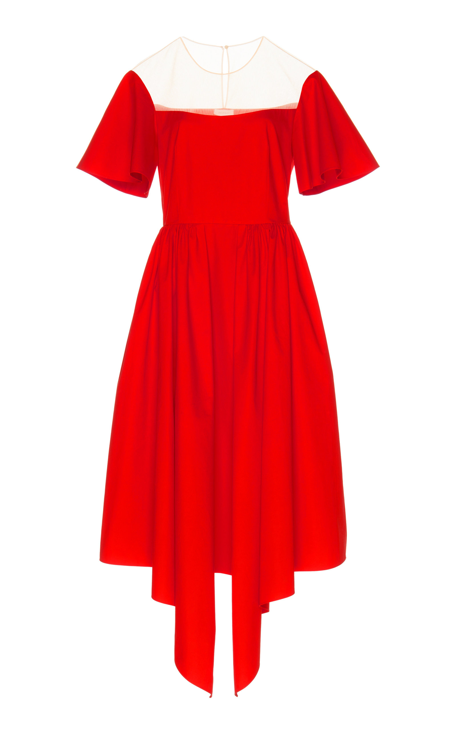 DELPOZO Flared-Sleeve Tulle-Yoke Fit-And-Flare Cotton Cocktail Dress in Red
