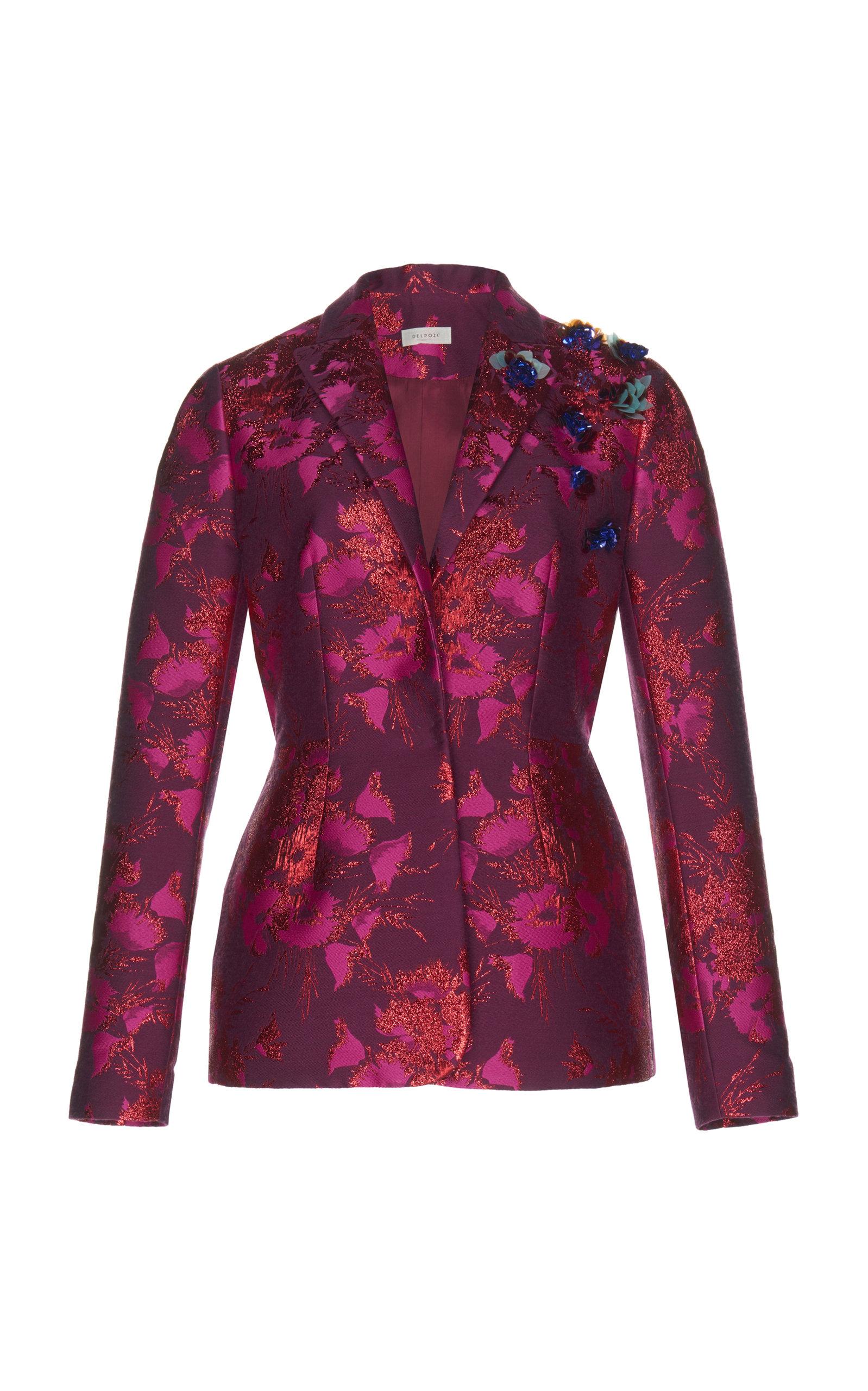 DELPOZO Floral Embroidered Blazer in Pink