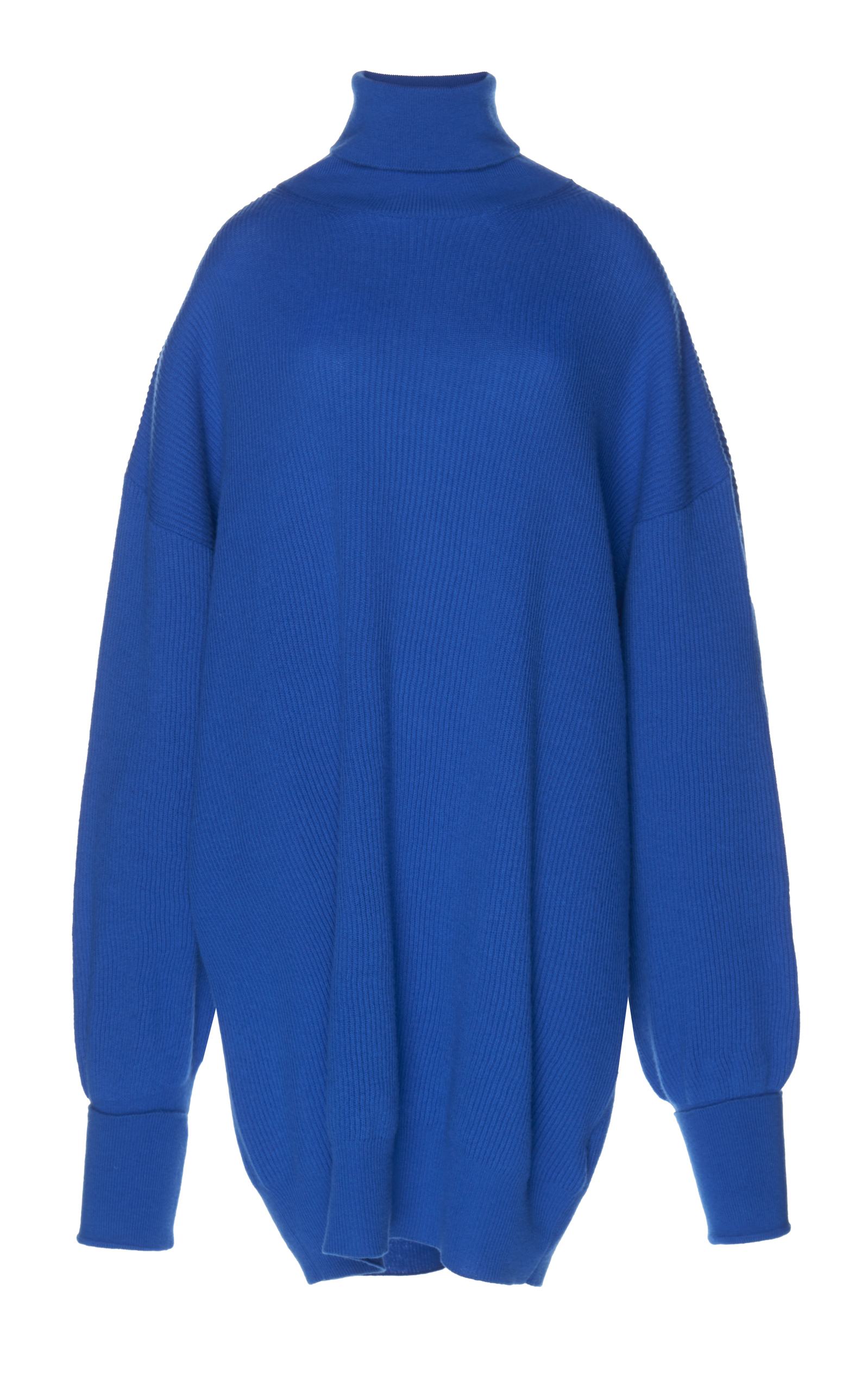 Oversized Elbow-Patch Wool Roll-Neck Sweater, Blue