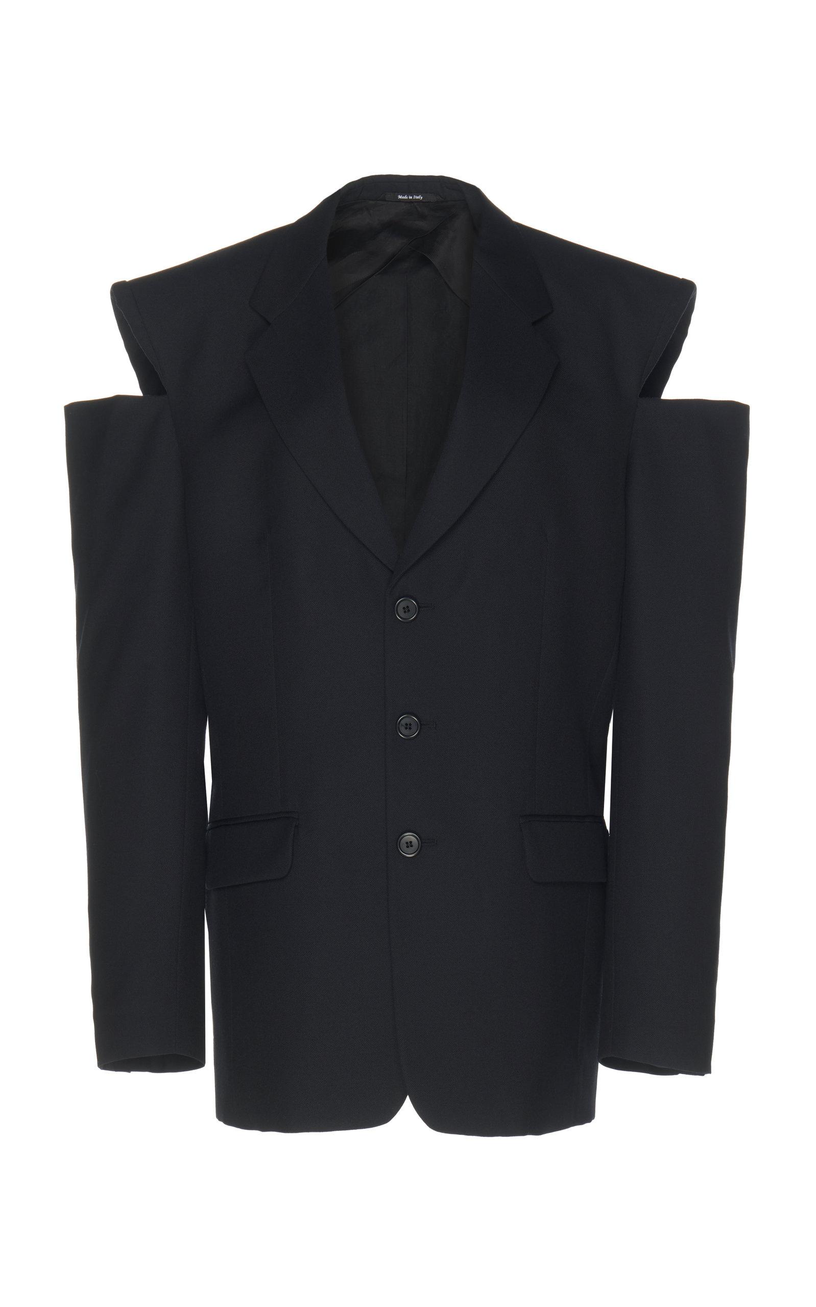 Oversized Cutout Wool Blazer, Black