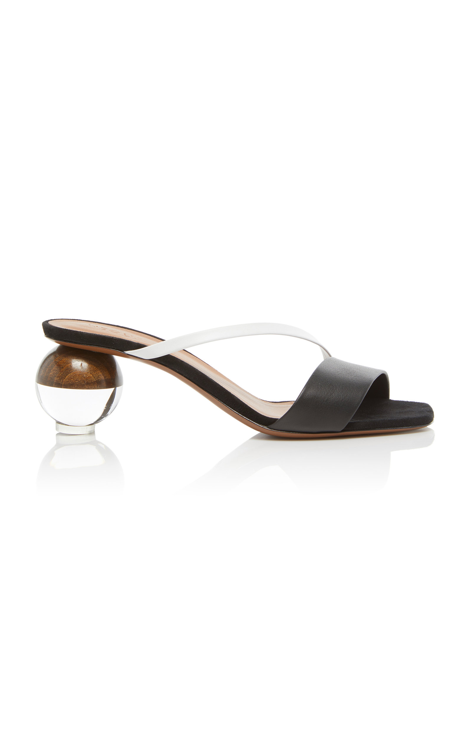 NEOUS Gia Two-Tone Leather Sandals in Black
