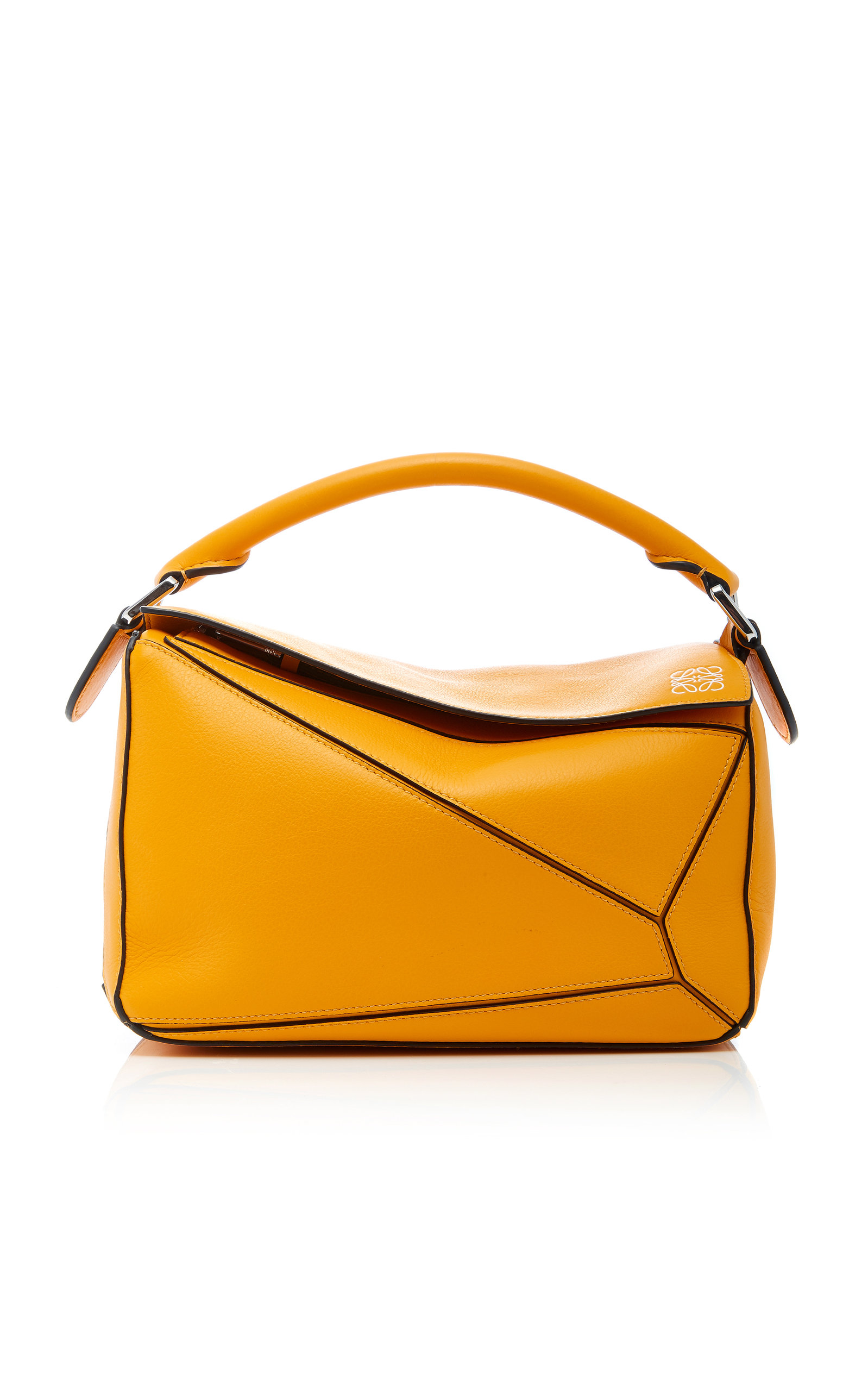 Puzzle Textured-Leather Shoulder Bag, Yellow