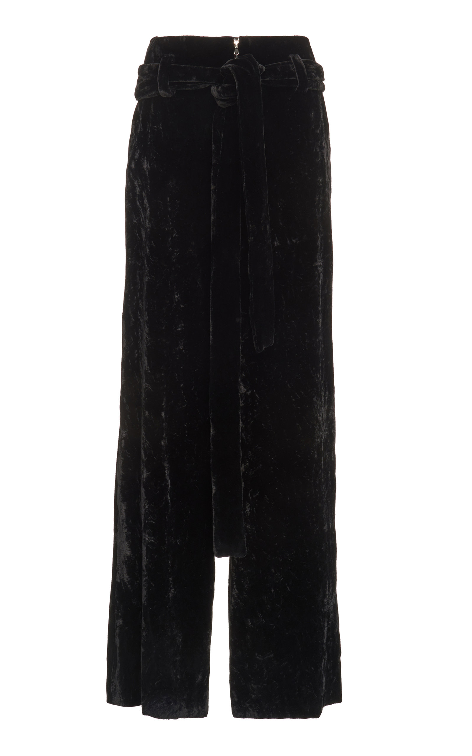 Black Wide-Leg Velvet Trousers