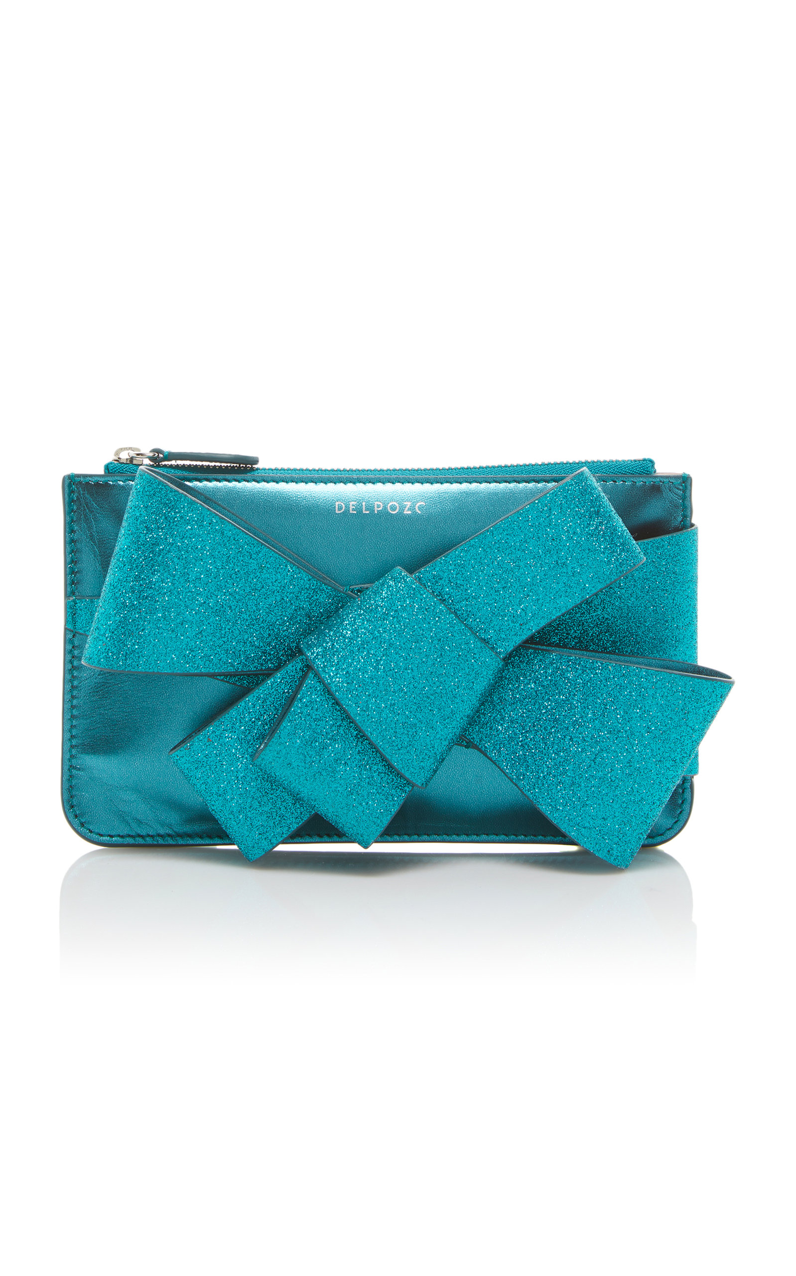 Delpozo Mini Bow-Detailed Glittered Leather Clutch z75rgHOGl