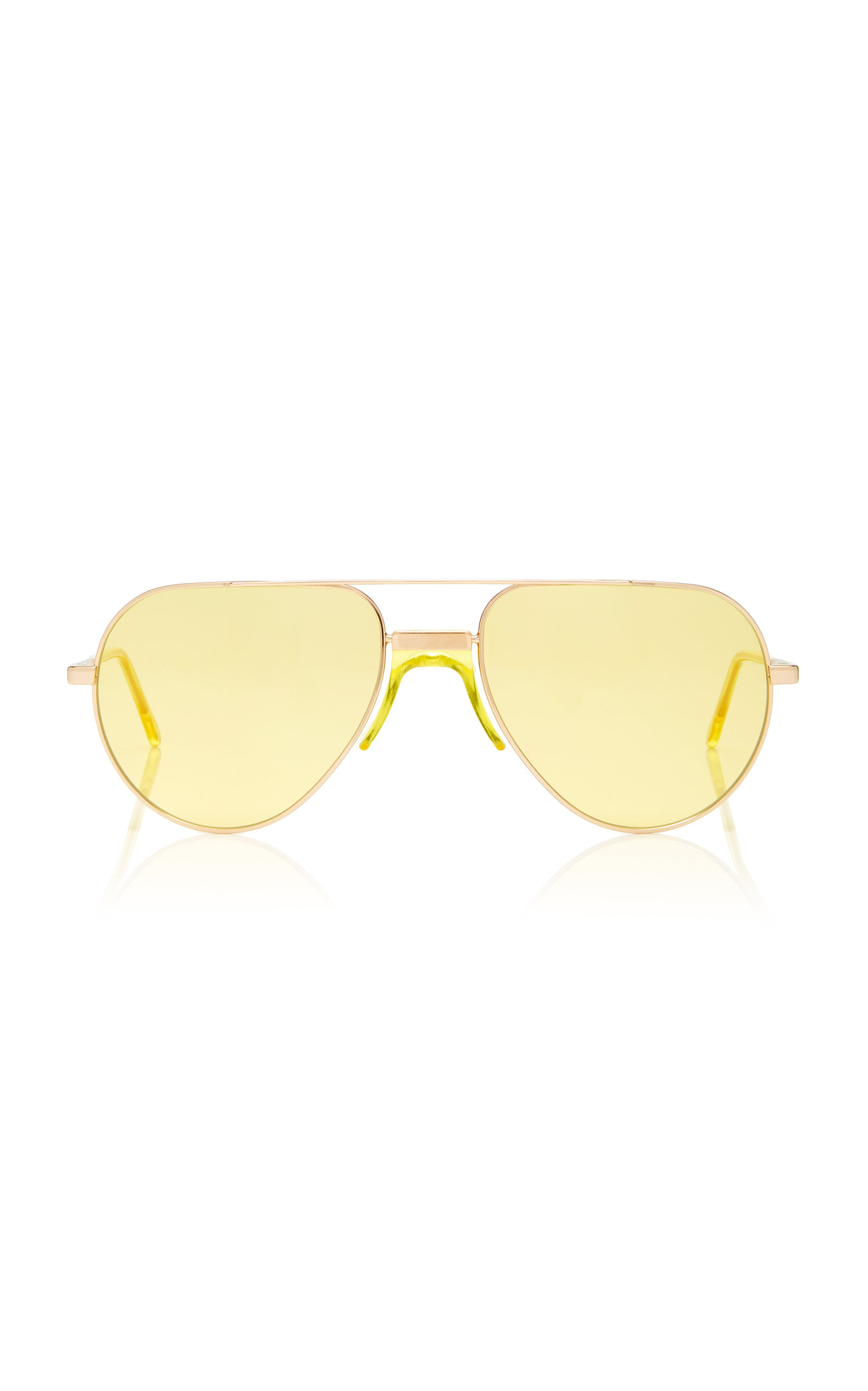 ANDY WOLF YELLOW-TINTED METAL AVIATOR SUNGLASSES