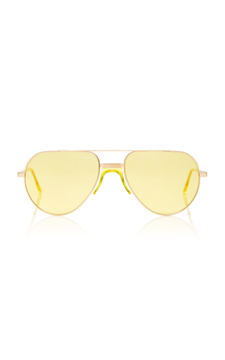 ANDY WOLF EYEWEAR | Andy Wolf Eyewear Yellow-Tinted Metal Aviator Sunglasses | Goxip