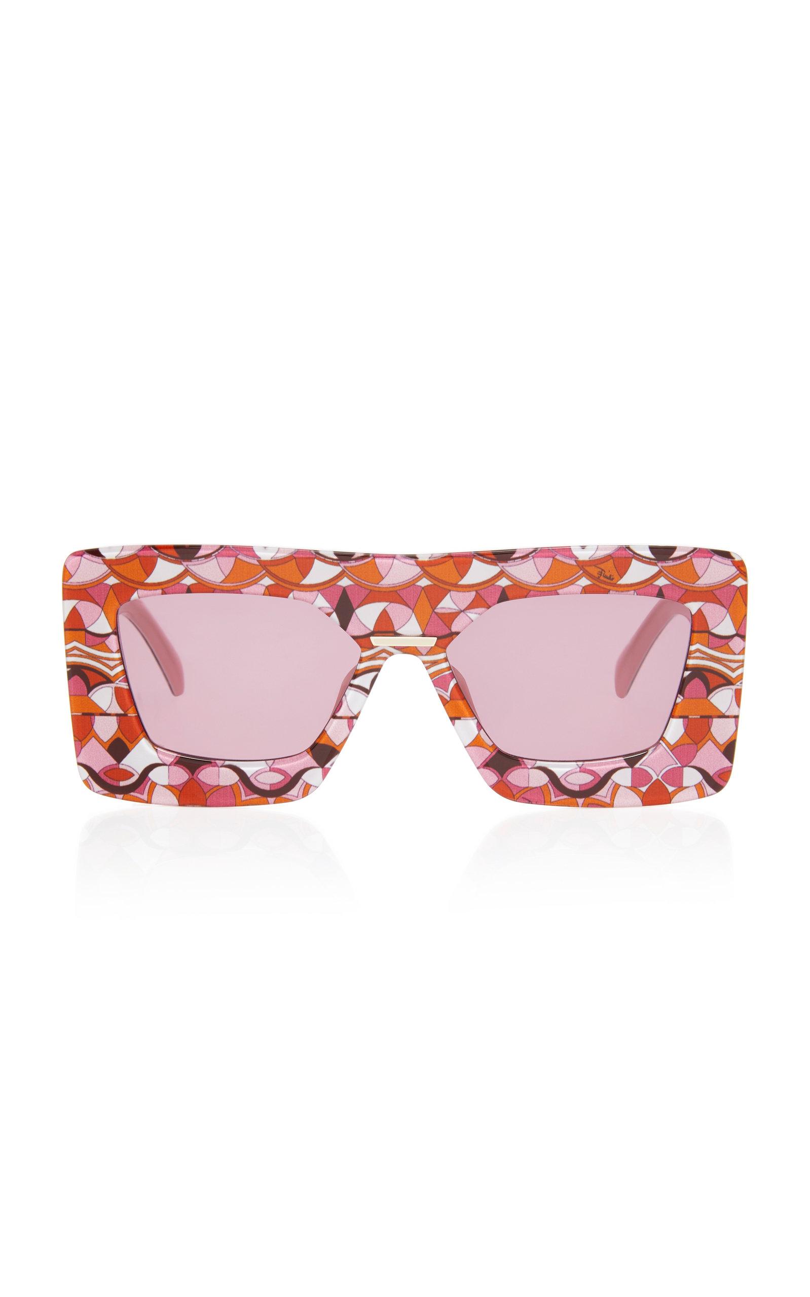 EMILIO PUCCI SUNGLASSES Oversized Printed Square Frame Acetate Sunglasses in Burgundy