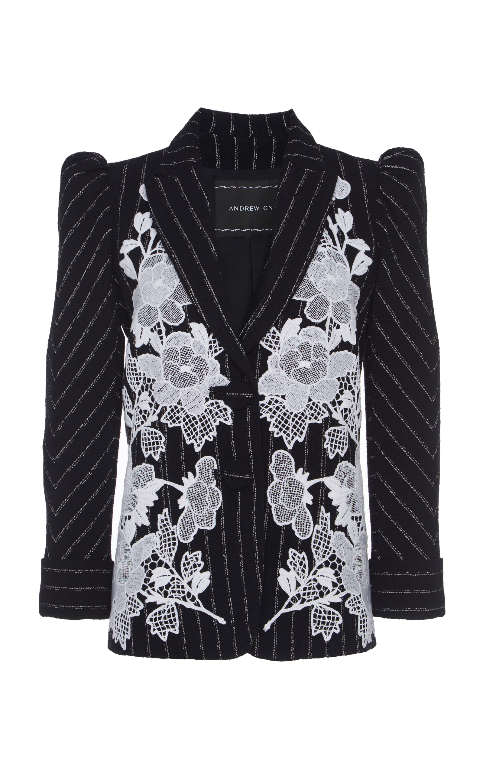 SINGLE-BREASTED PINSTRIPE BLAZER WITH LACE EMBROIDERED APPLIQUE