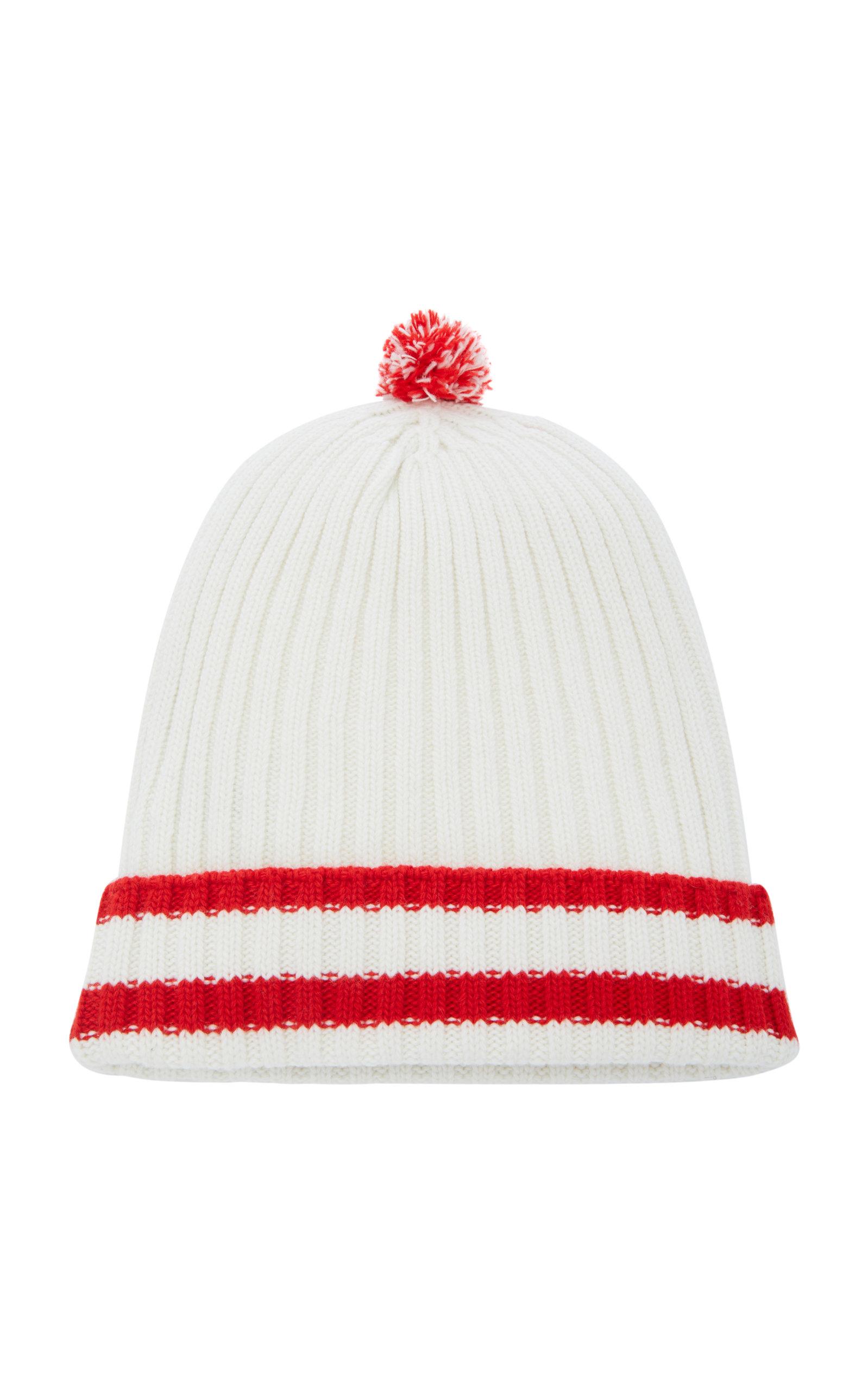 fe7830193 Striped Ribbed-Knit Wool-Cashmere Pom Pom Beanie