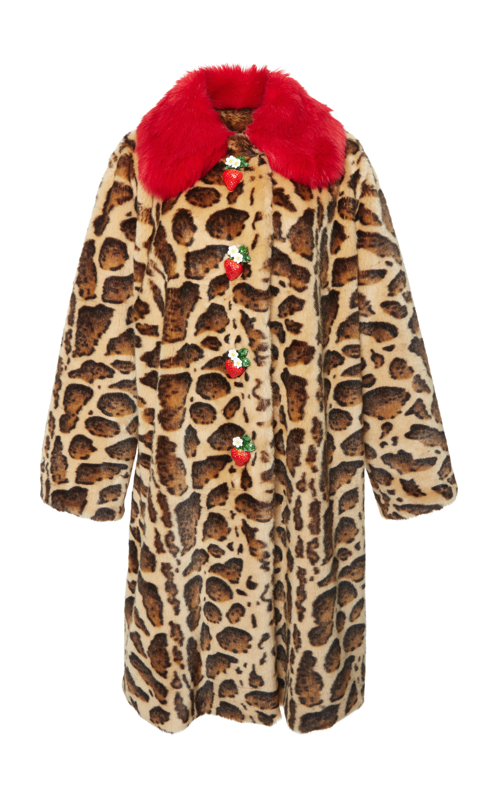 Strawberry-Buttons Leopard-Print Faux-Fur Mid-Calf Coat in Brown
