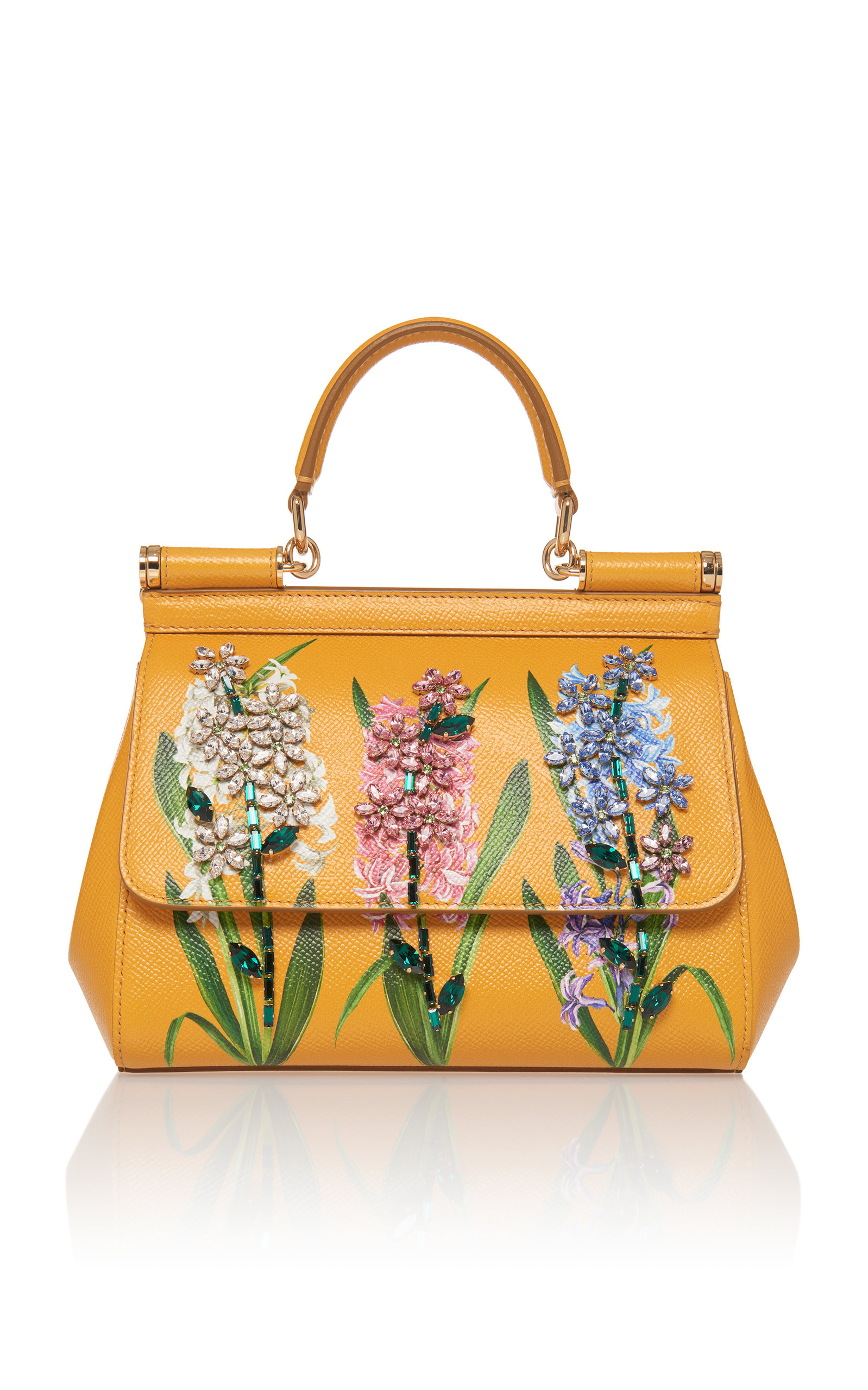 Sicily Handbag In Printed Dauphine Calfskin With Embroideries, Yellow