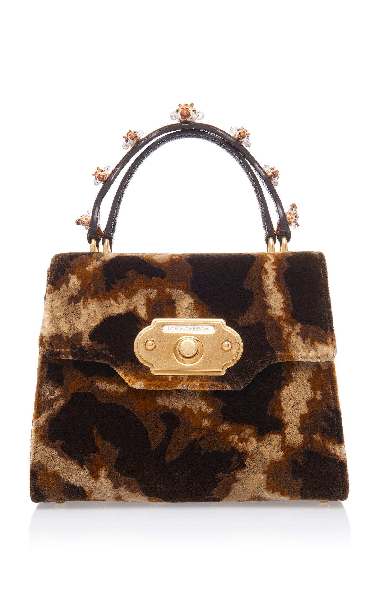 Dolce & Gabbana Embellished Leather-Trimmed Suede Tote