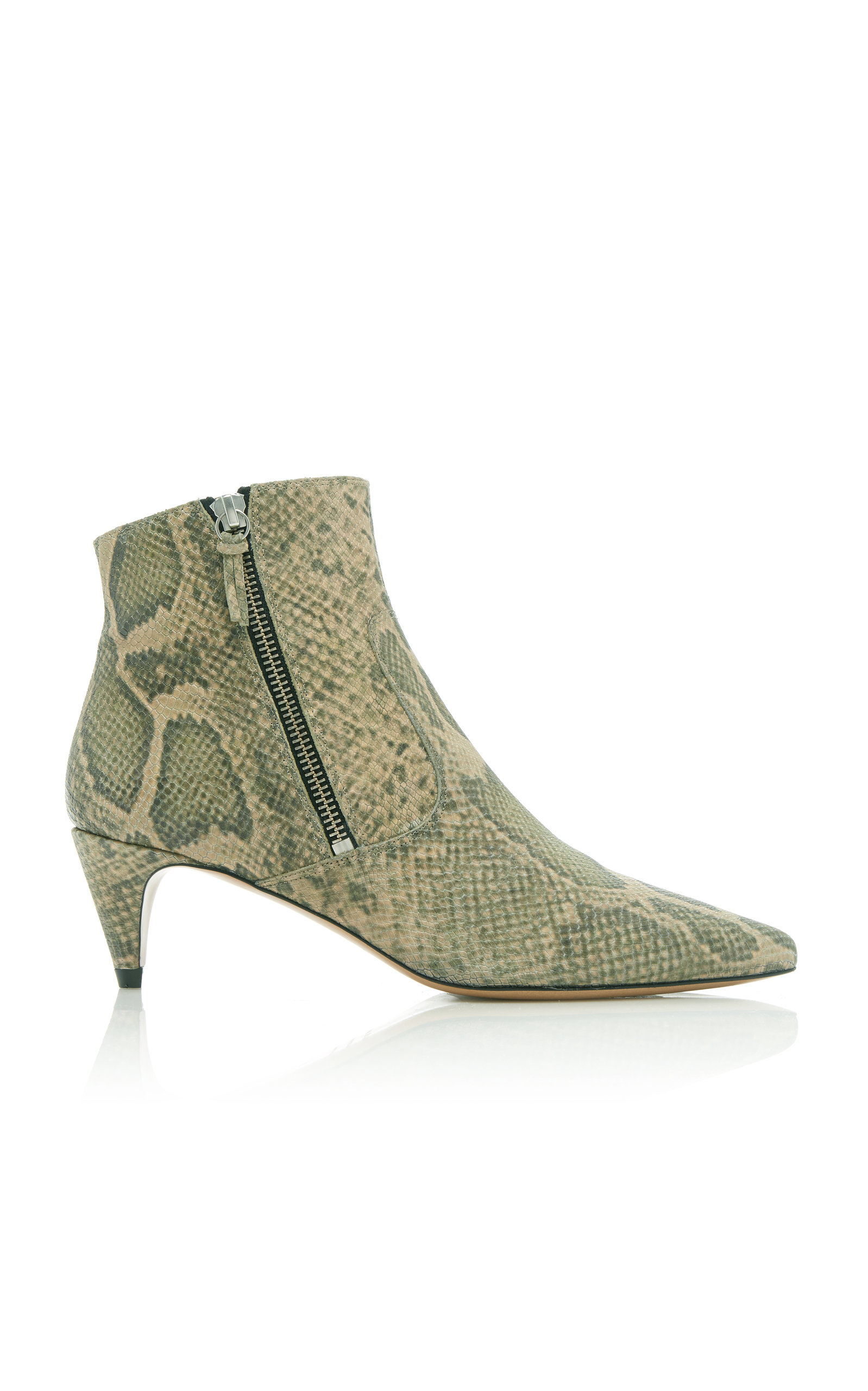 DEBY SNAKE-EFFECT LEATHER ANKLE BOOTS