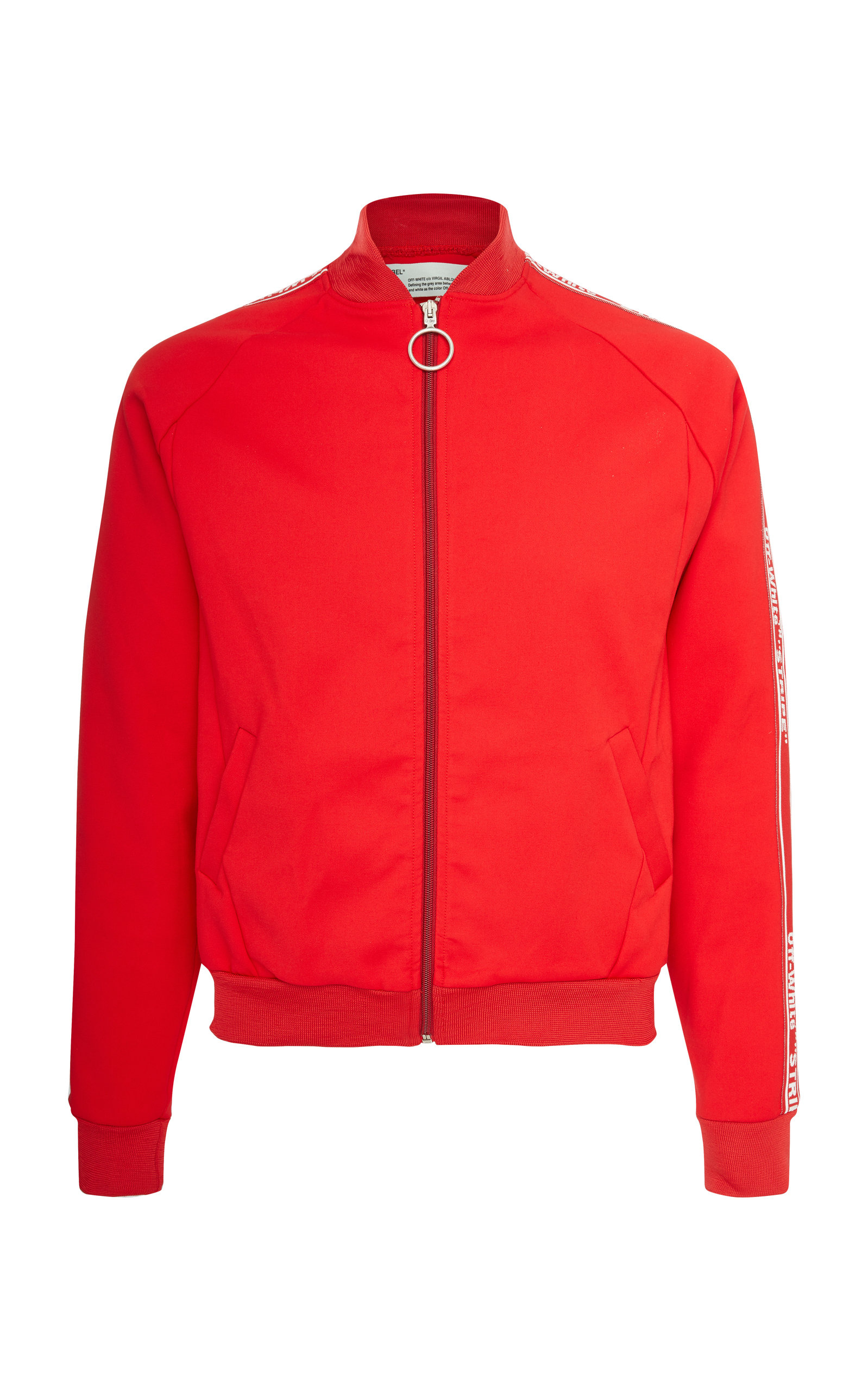 Striped Cotton-Jersey Track Jacket, Red