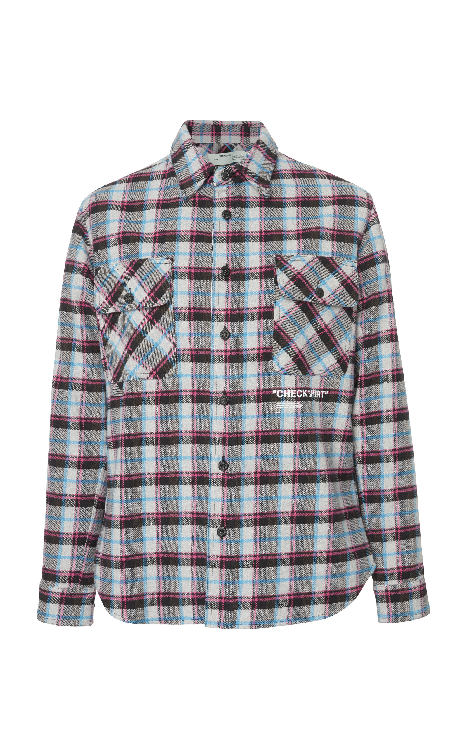 799dd2a0592b Off-White Printed Checked Cotton-Blend Flannel Overshirt In Plaid ...
