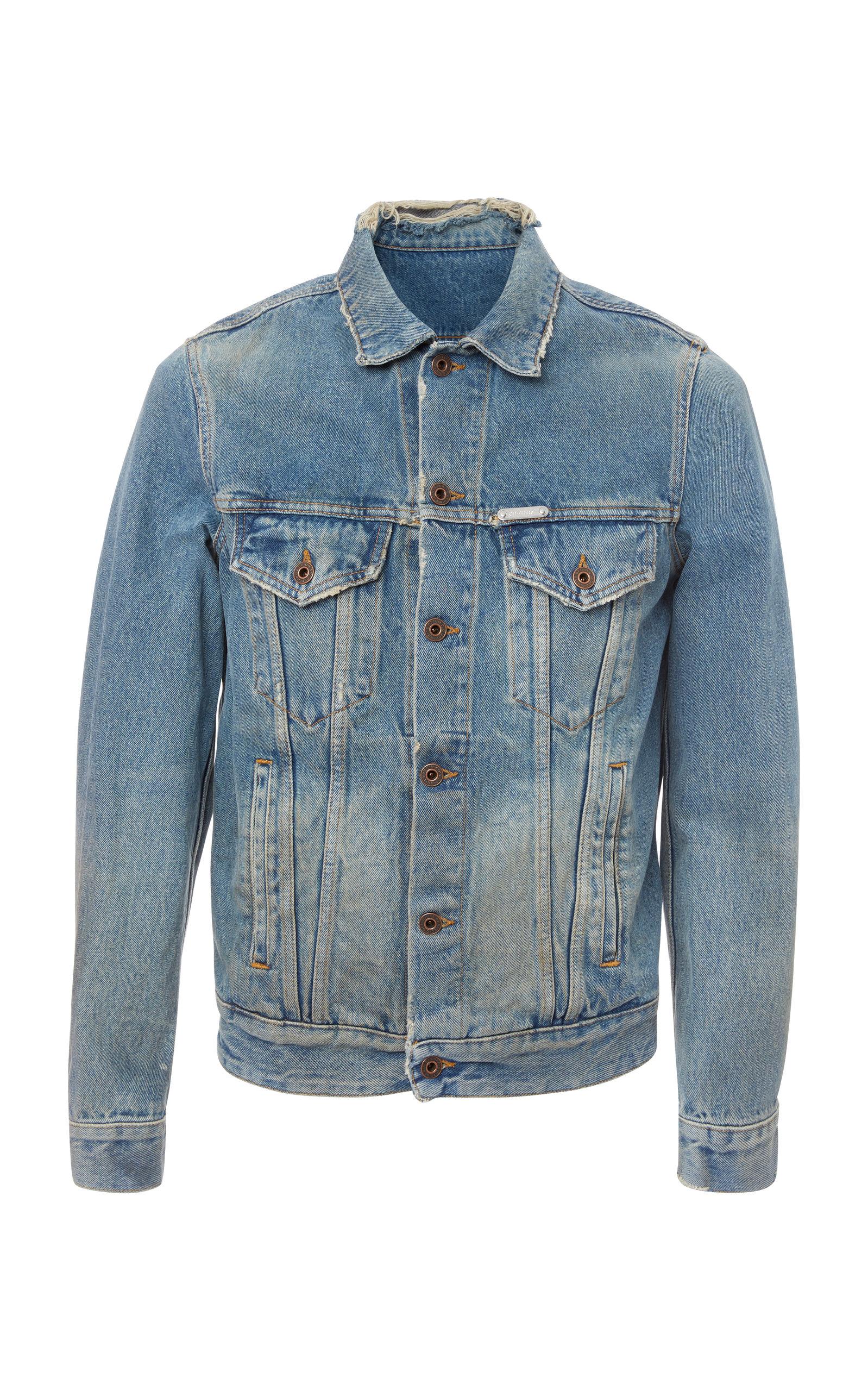 Distressed Logo-Print Denim Jacket, Blue
