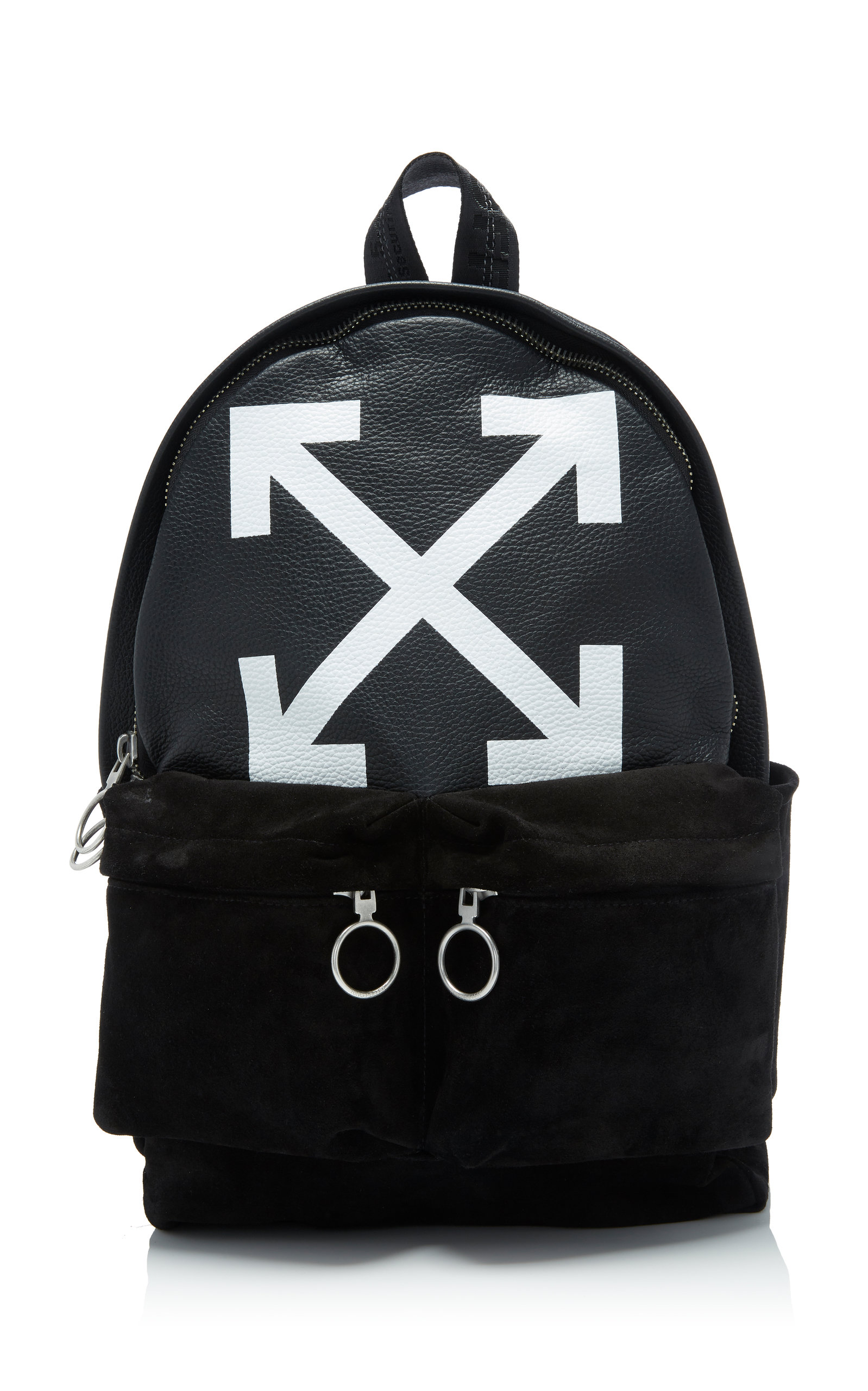Printed Leather And Suede Backpack, Black