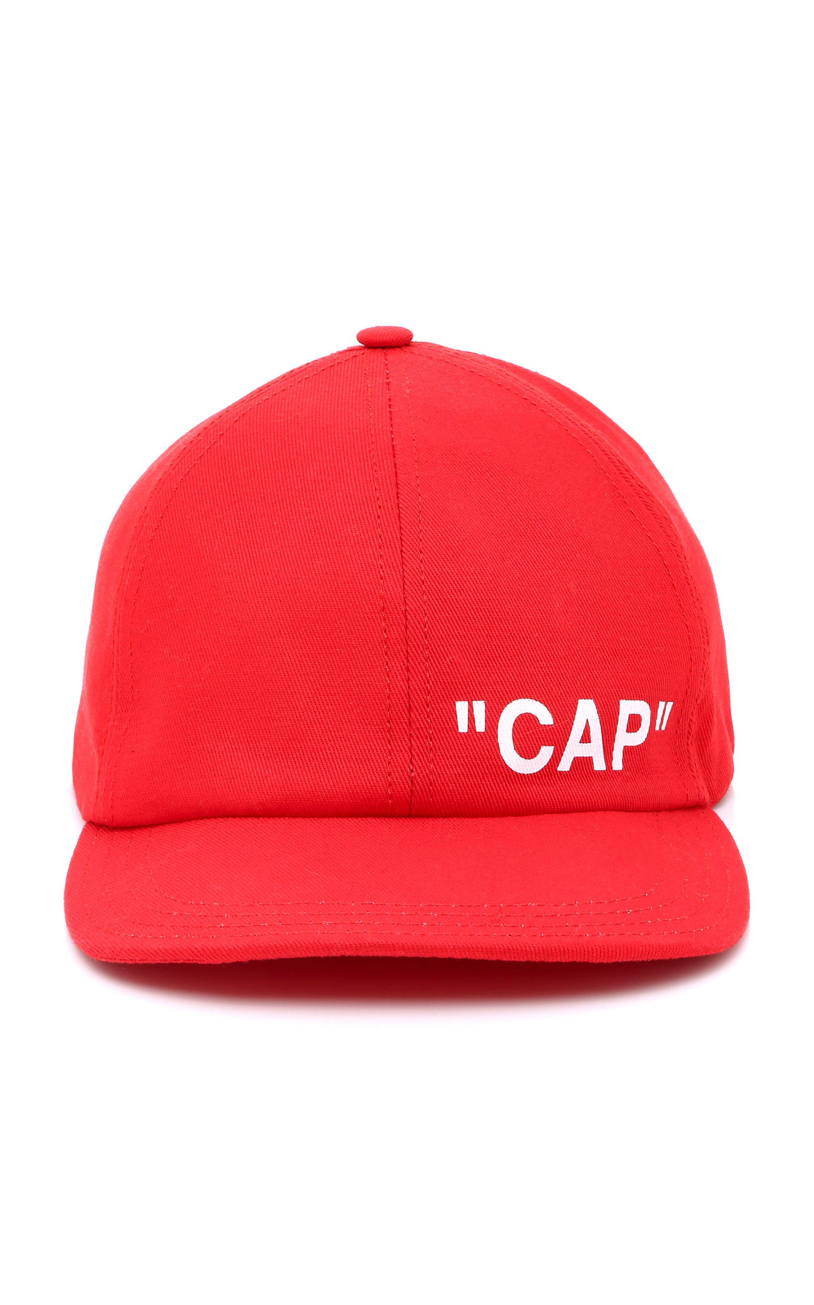 OFF-WHITE Printed Cotton-Twill Baseball Cap, Red
