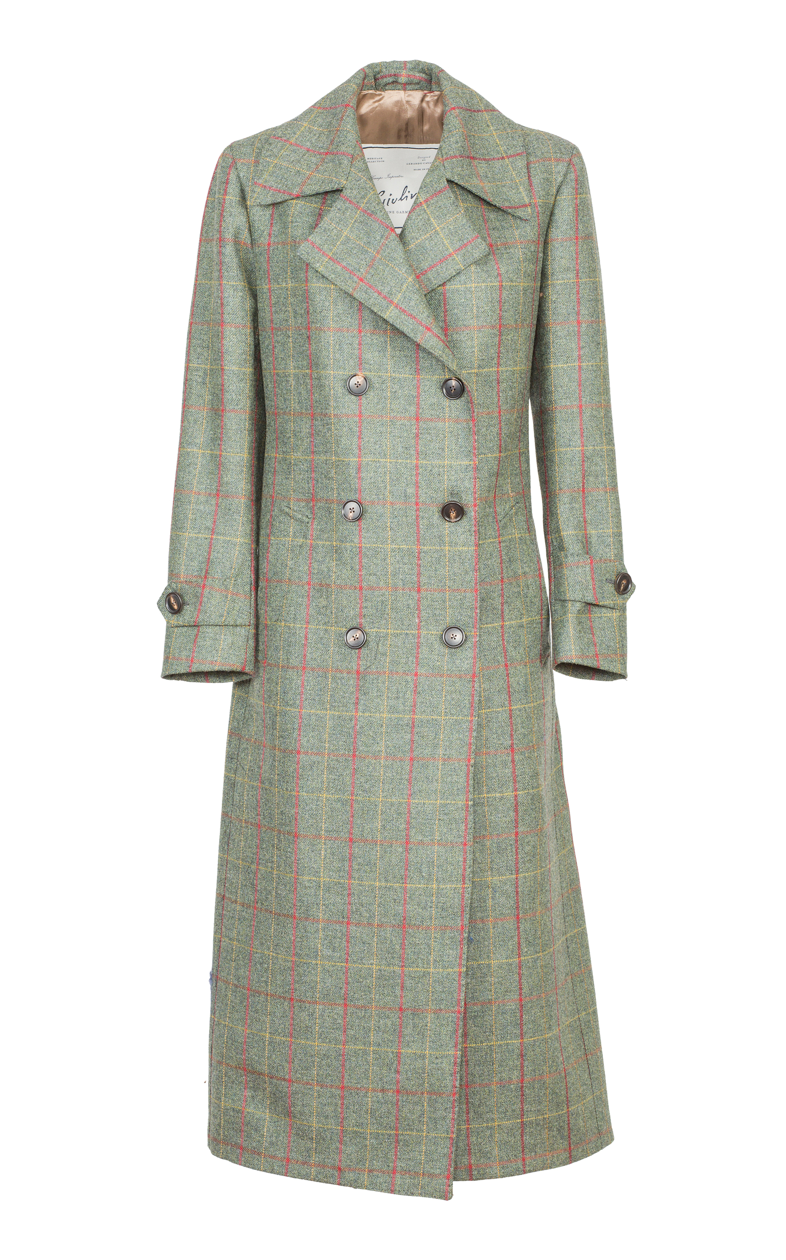 GIULIVA HERITAGE COLLECTION Christie Checked Wool Trench Coat in Green