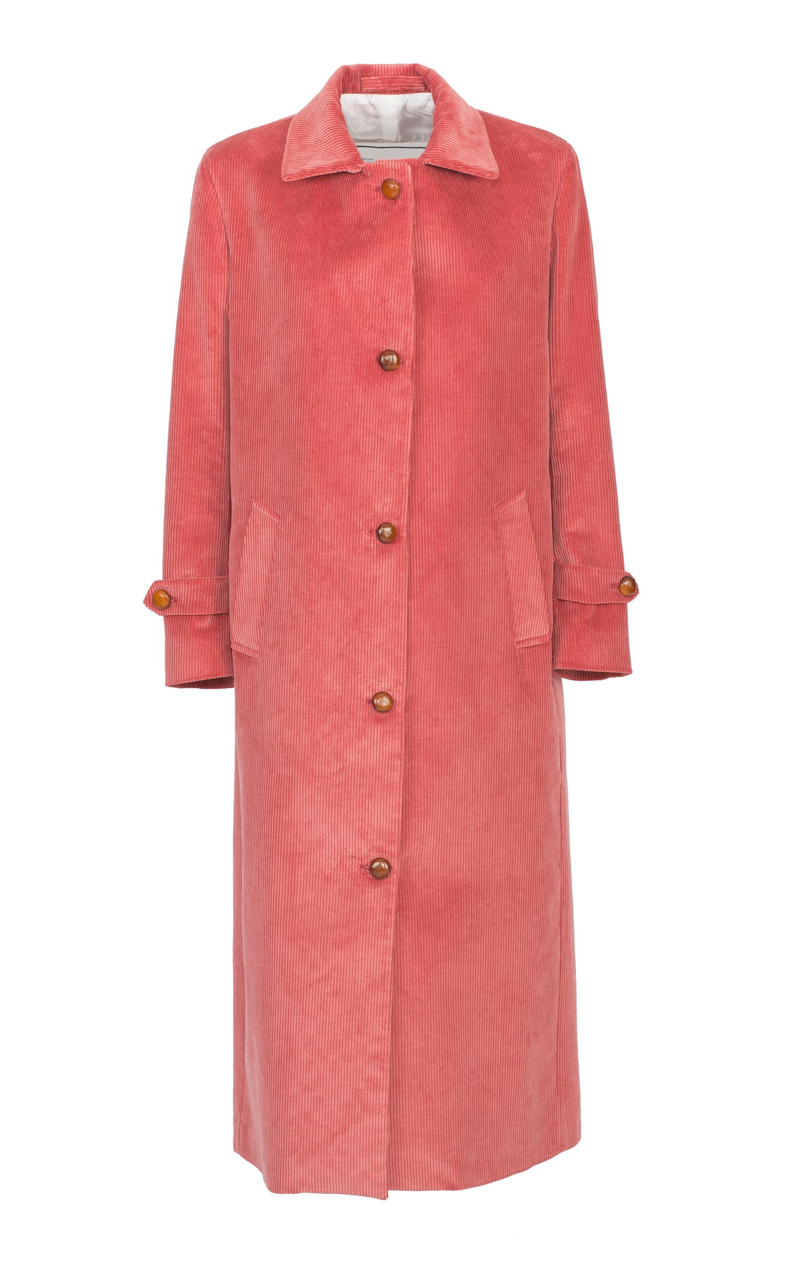 The Maria Corduroy Midi Coat in Pink