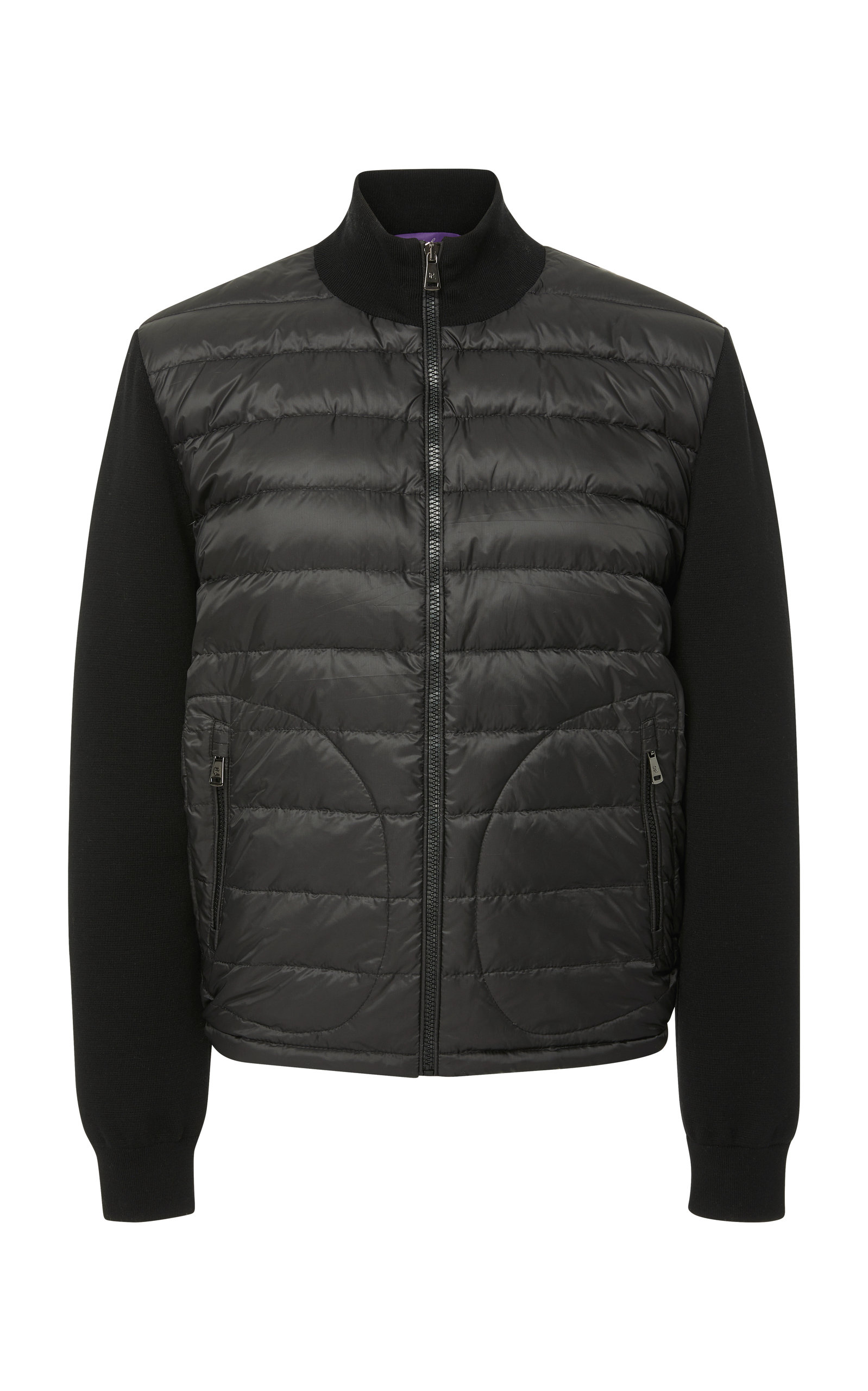 RALPH LAUREN Paneled Quilted-Shell And Stretch-Wool Jacket in Black