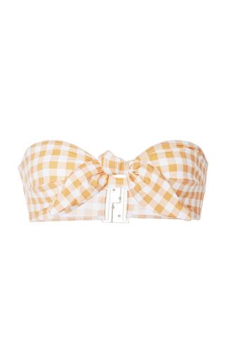 EPHEMERA   Ephemera Gingham Tie Front Bandeau Bikini Top   Goxip