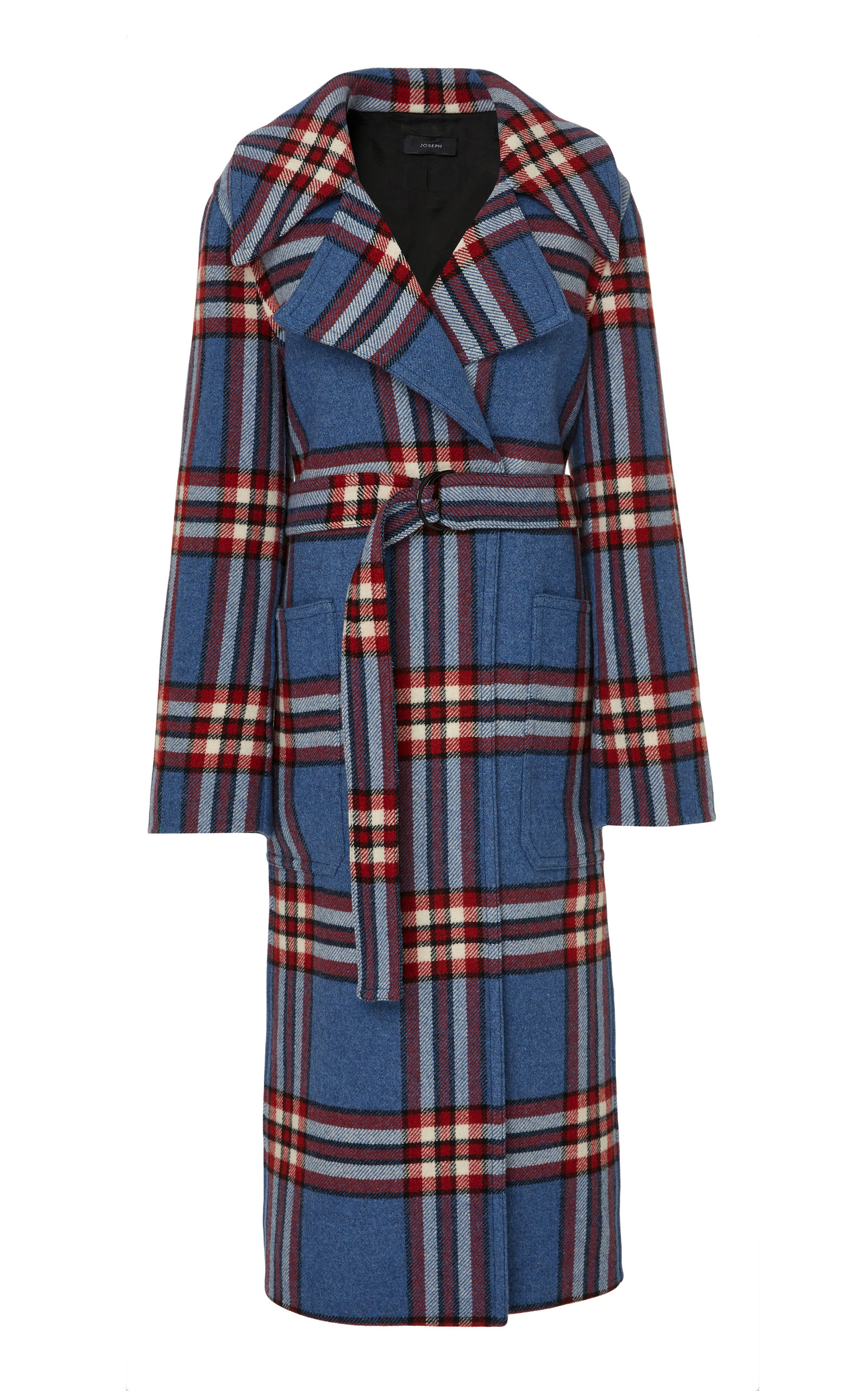Teodor Belted Checked Cashmere Coat in Blue