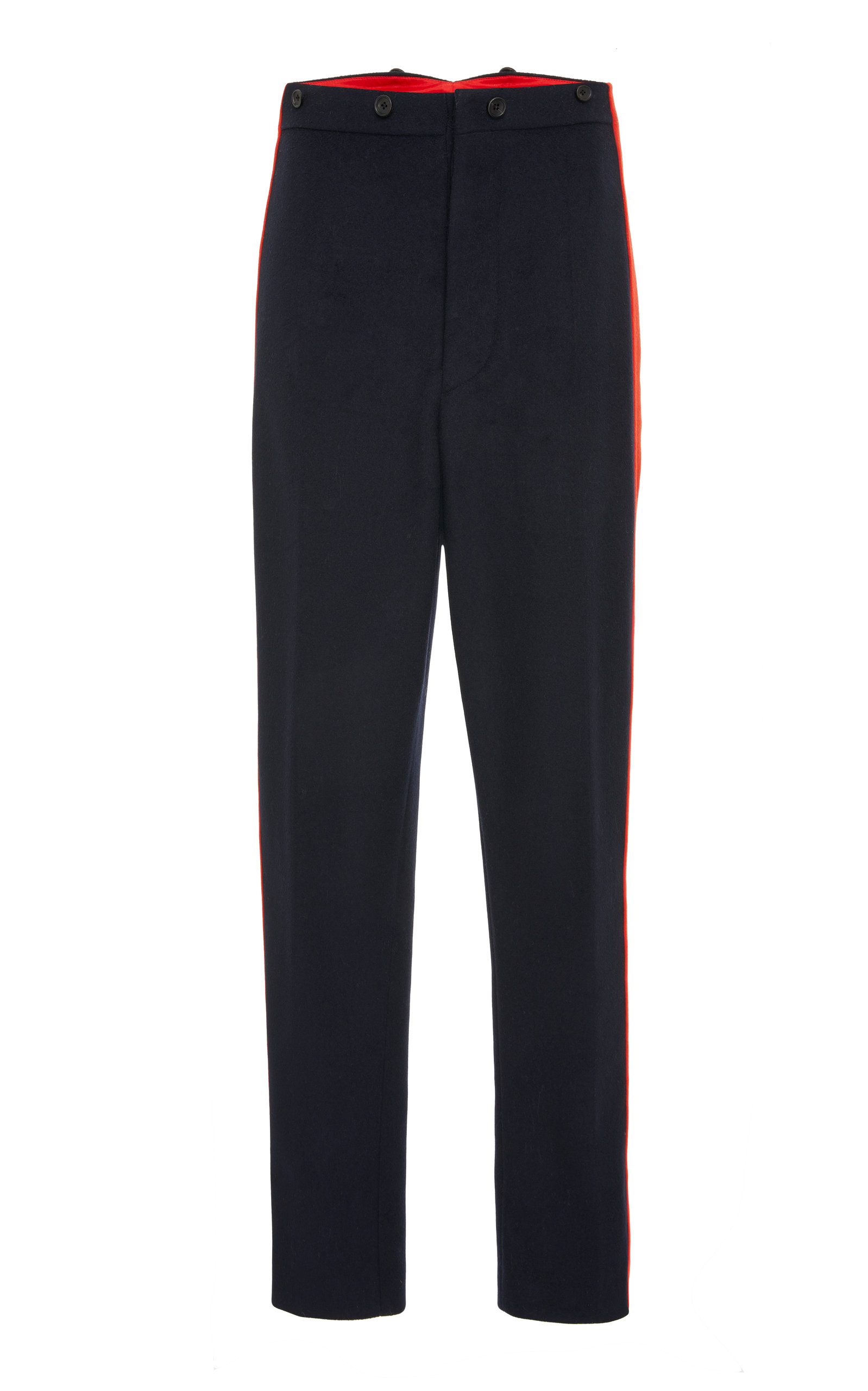 Annam Striped Wool And Cashmere-Blend Felt Straight-Leg Pants, Navy