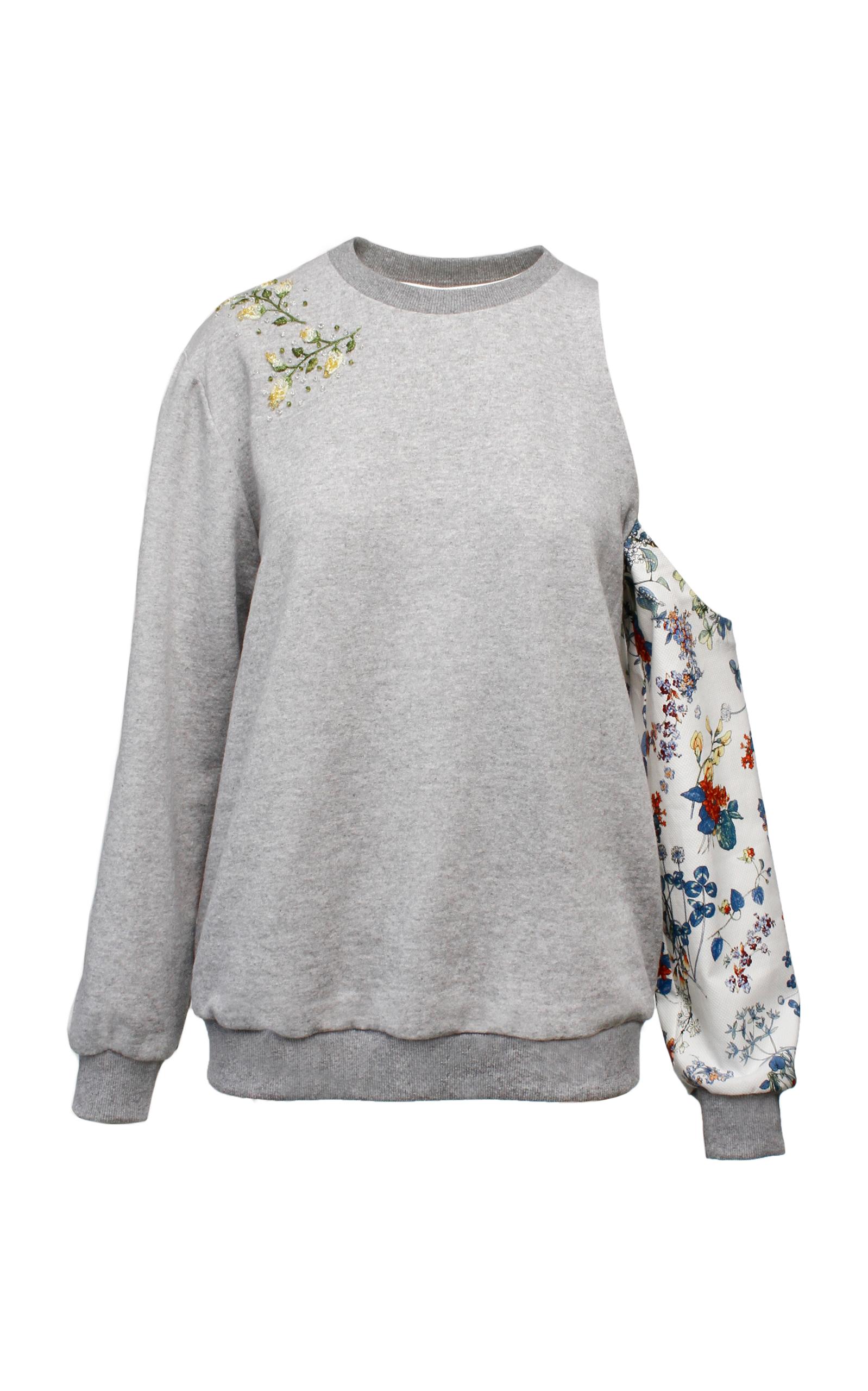 ANOUKI Multicolor Flower Print Sweatshirt in Grey