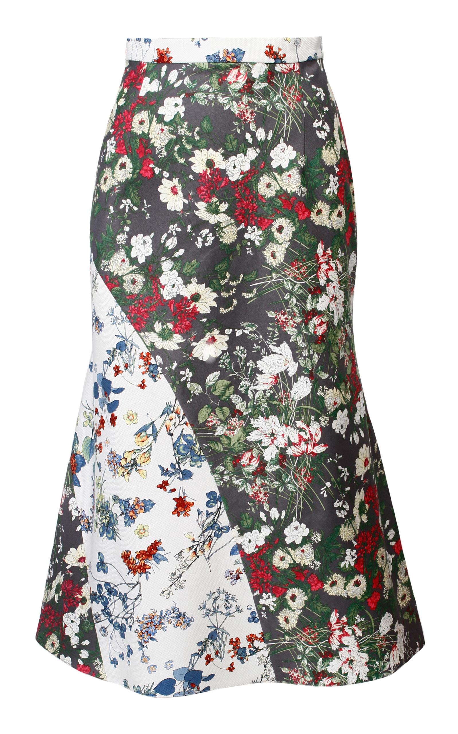 ANOUKI Multicolor Flower Print Godet Skirt in Floral