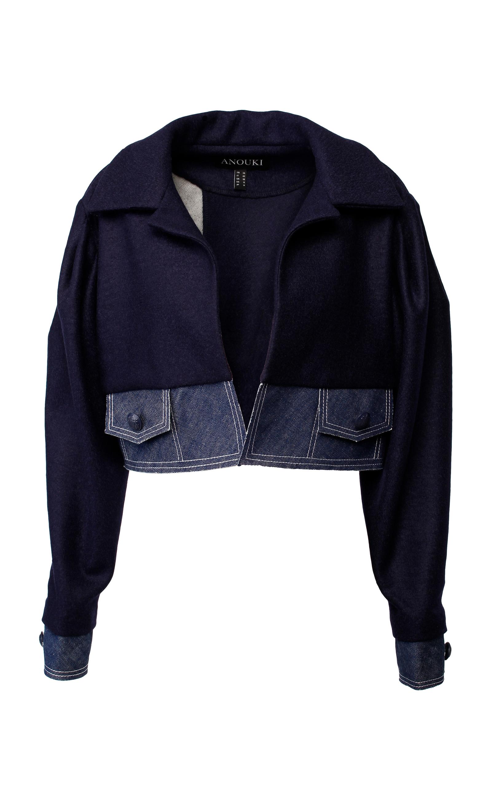 ANOUKI Dark Blue Loose-Fit Cropped Jacket