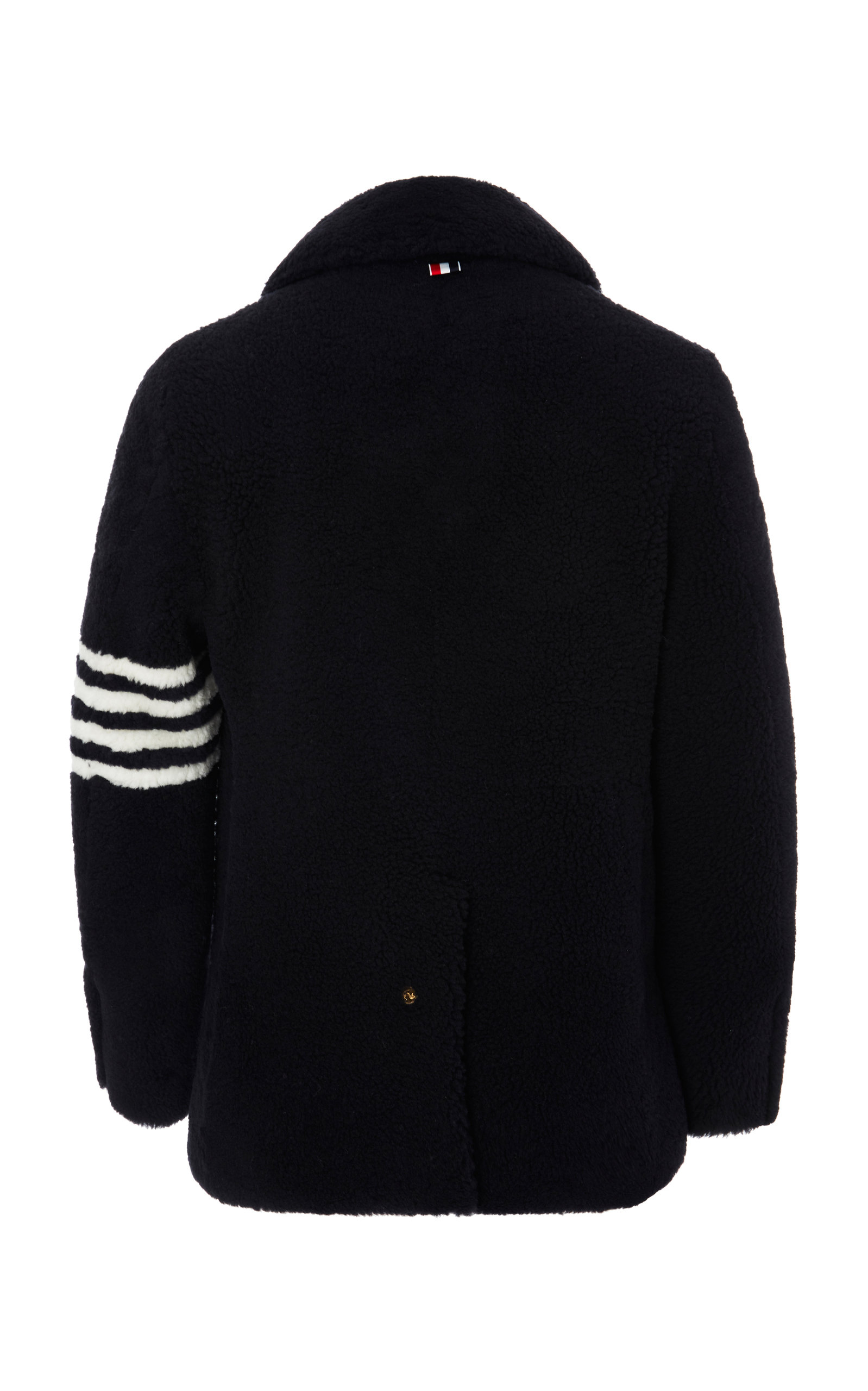81e0931ecf Thom BrowneDouble-Breasted Striped Shearling Peacoat. CLOSE. Loading.  Loading