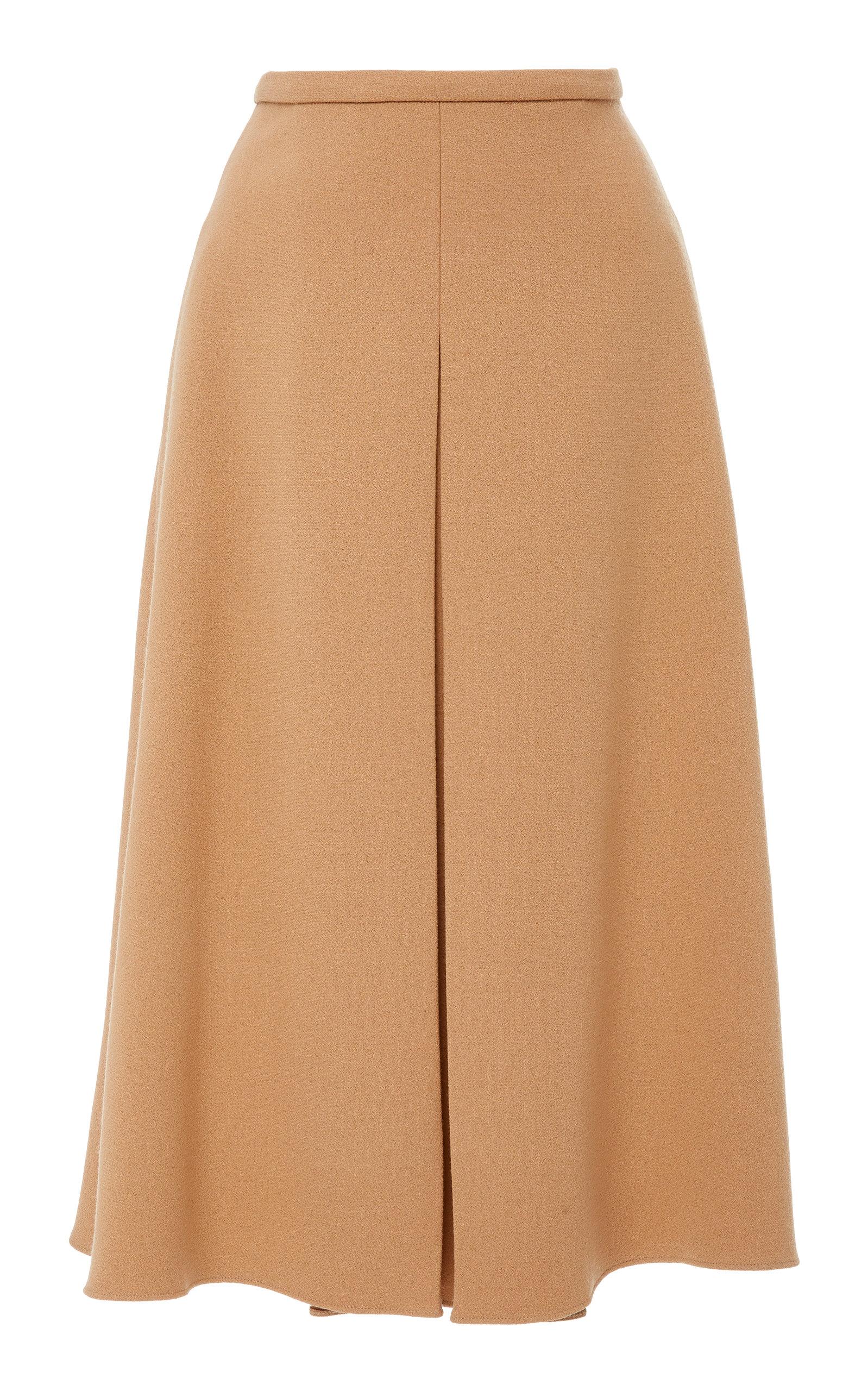 ROCHAS A-Line Wool And Silk-Blend Midi Skirt in Neutrals