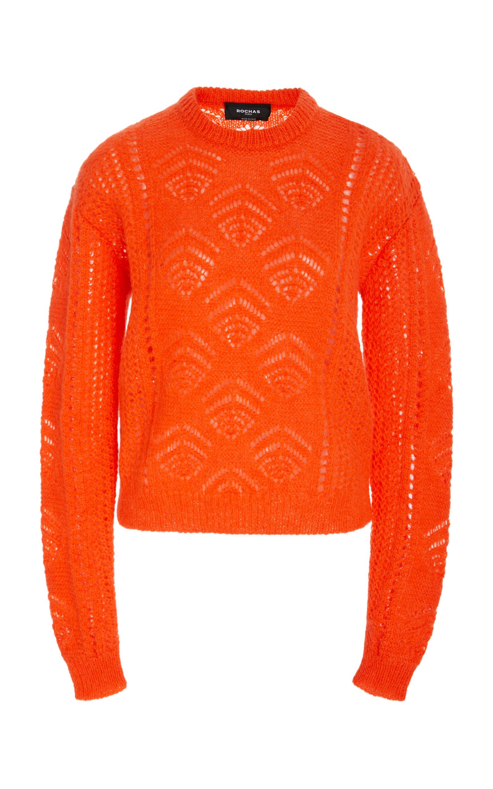 ROCHAS Scarf Neck Chunky-Knit Sweater in Orange