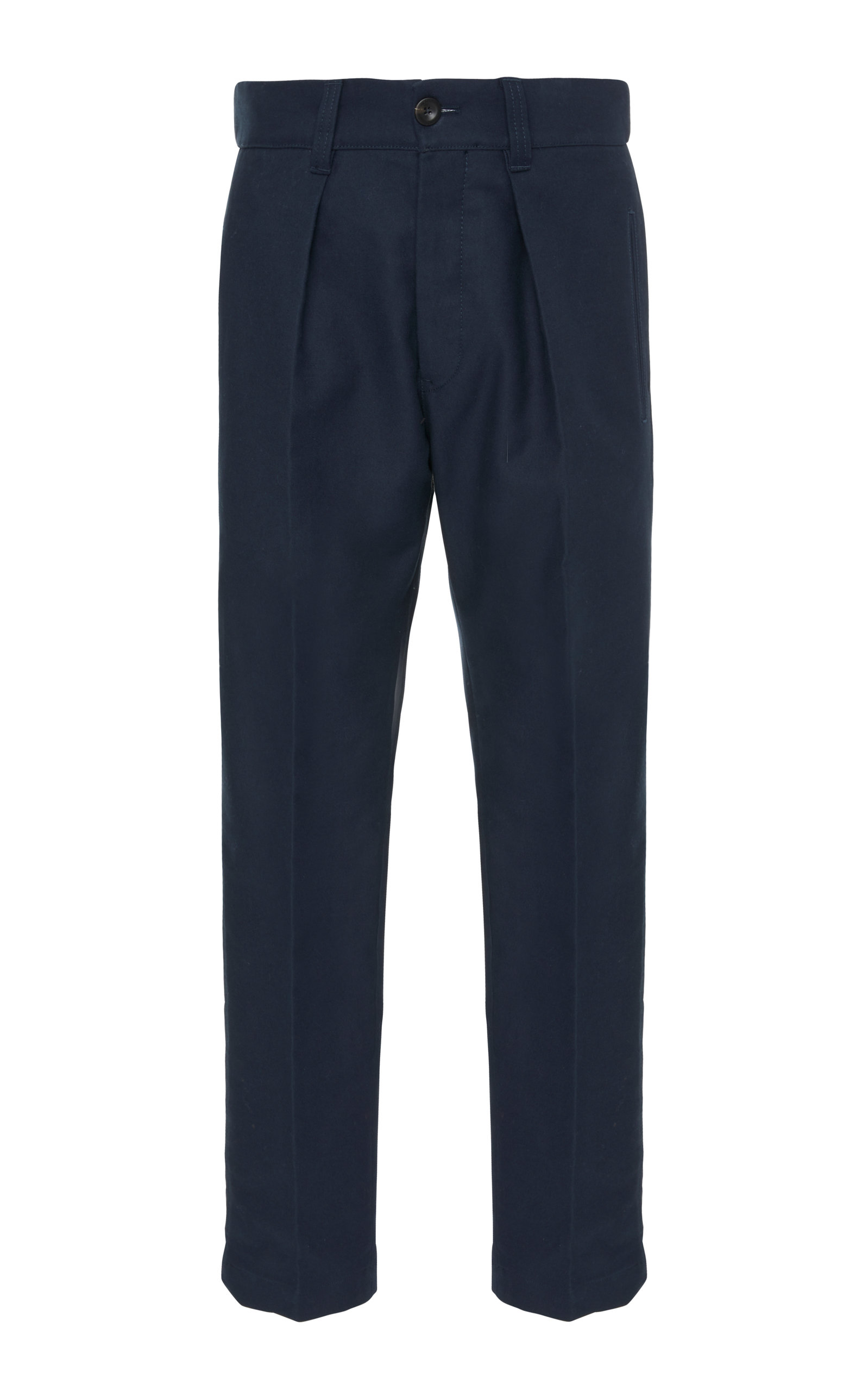 PT FORWARD Cropped Pleated Cotton Straight-Leg Pants in Navy