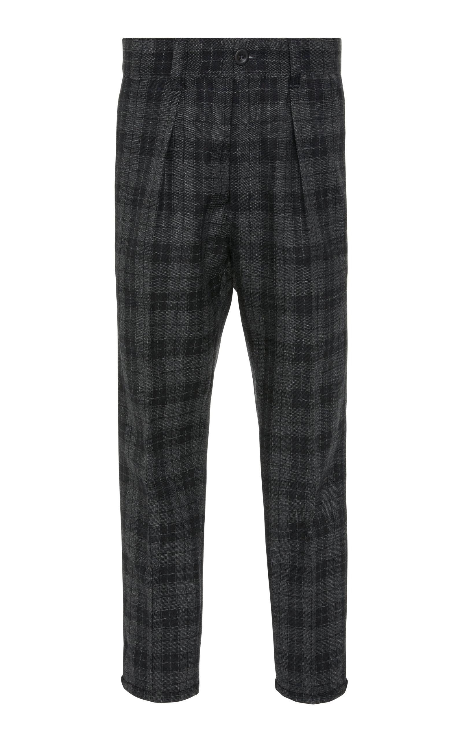 PT FORWARD Pleated Plaid Wool-Crepe Pants