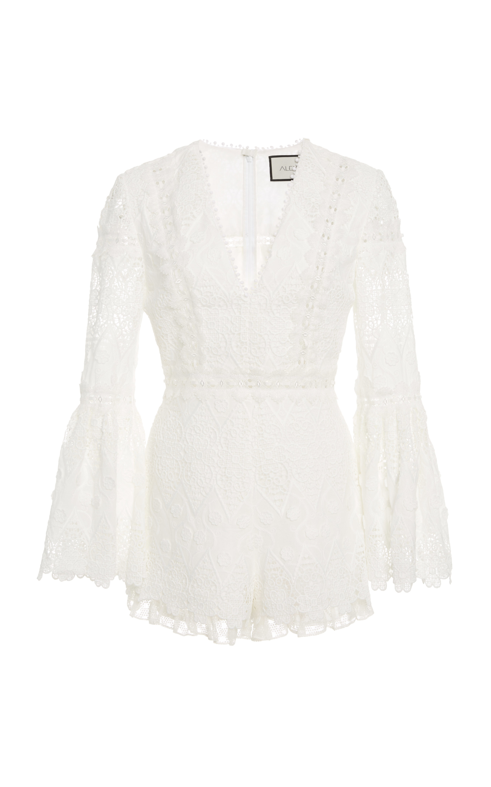 Caralyn Guipure Lace Romper, White