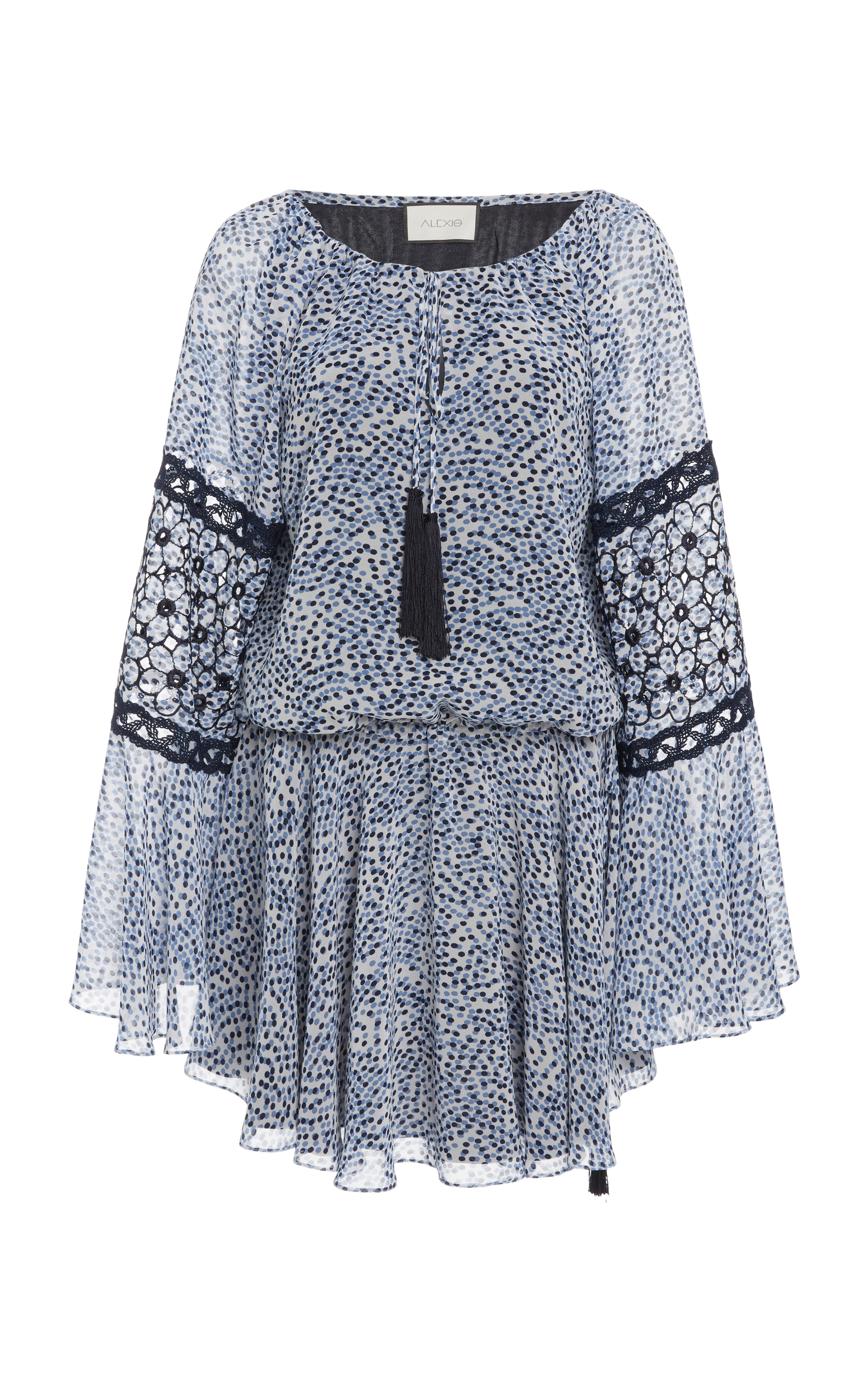 Lanelle Printed Long-Sleeve Mini Dress in Blue
