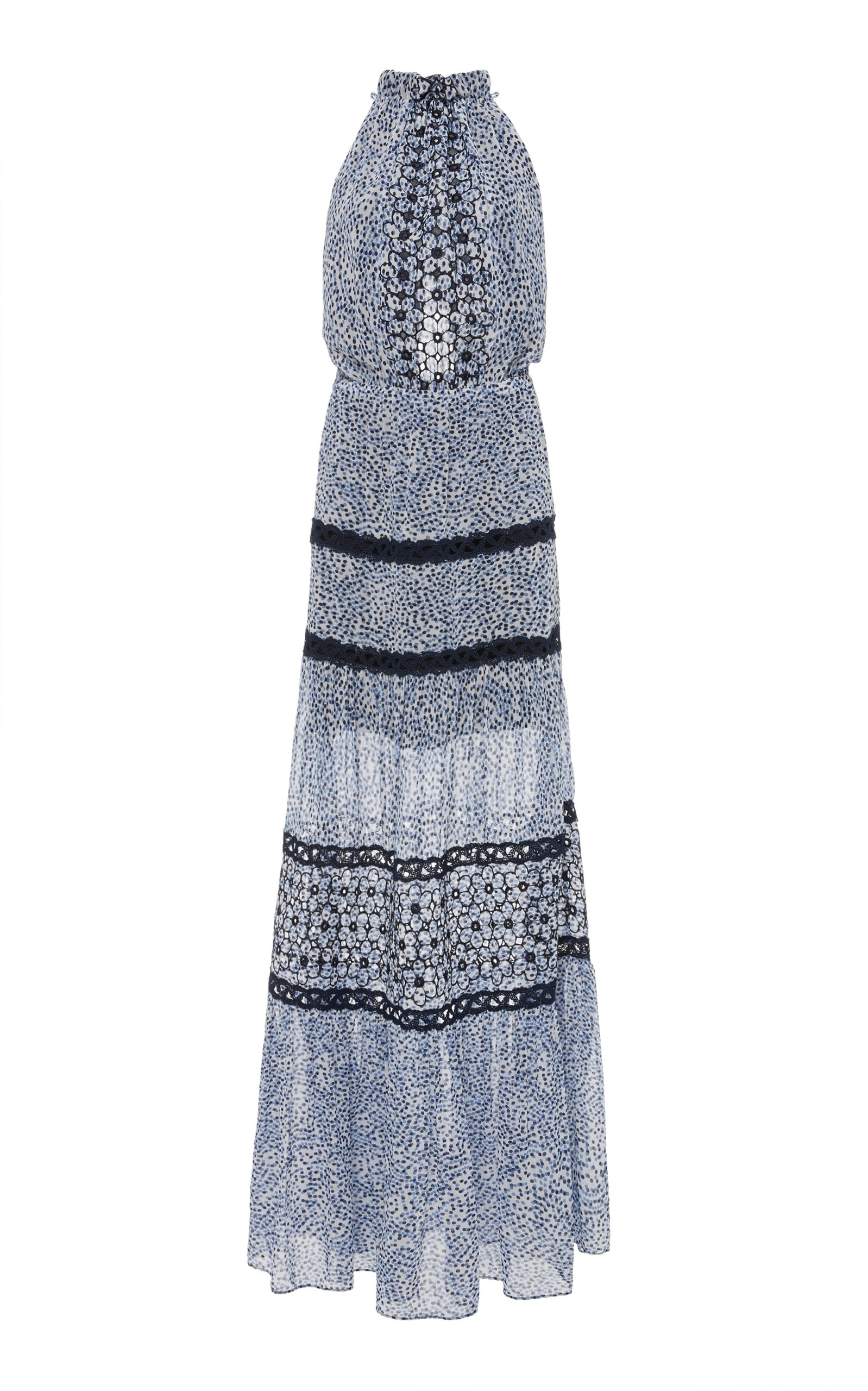 Bel Printed Crochet Maxi Dress in Blue