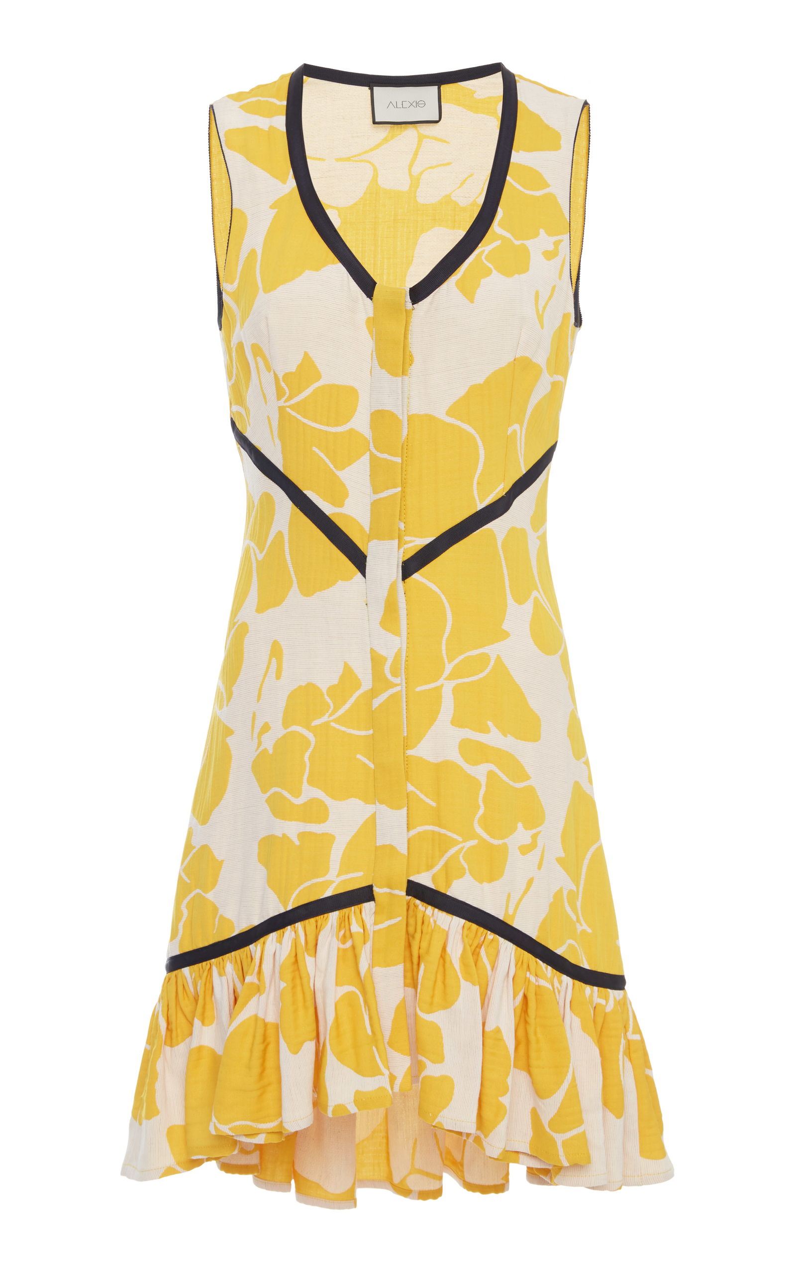 Simonet Floral Flounce High-Low Dress in Yellow