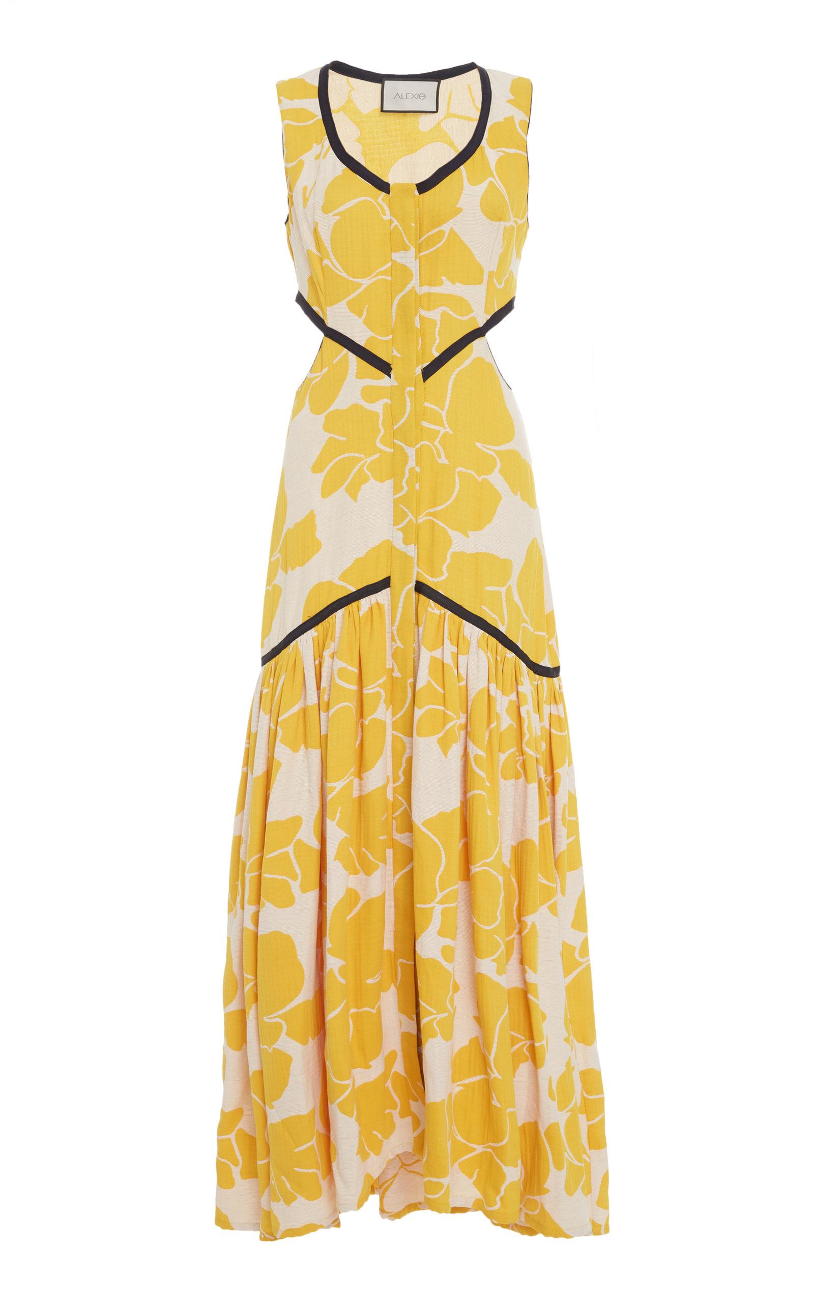 Cutout Floral Midi Dress, Yellow