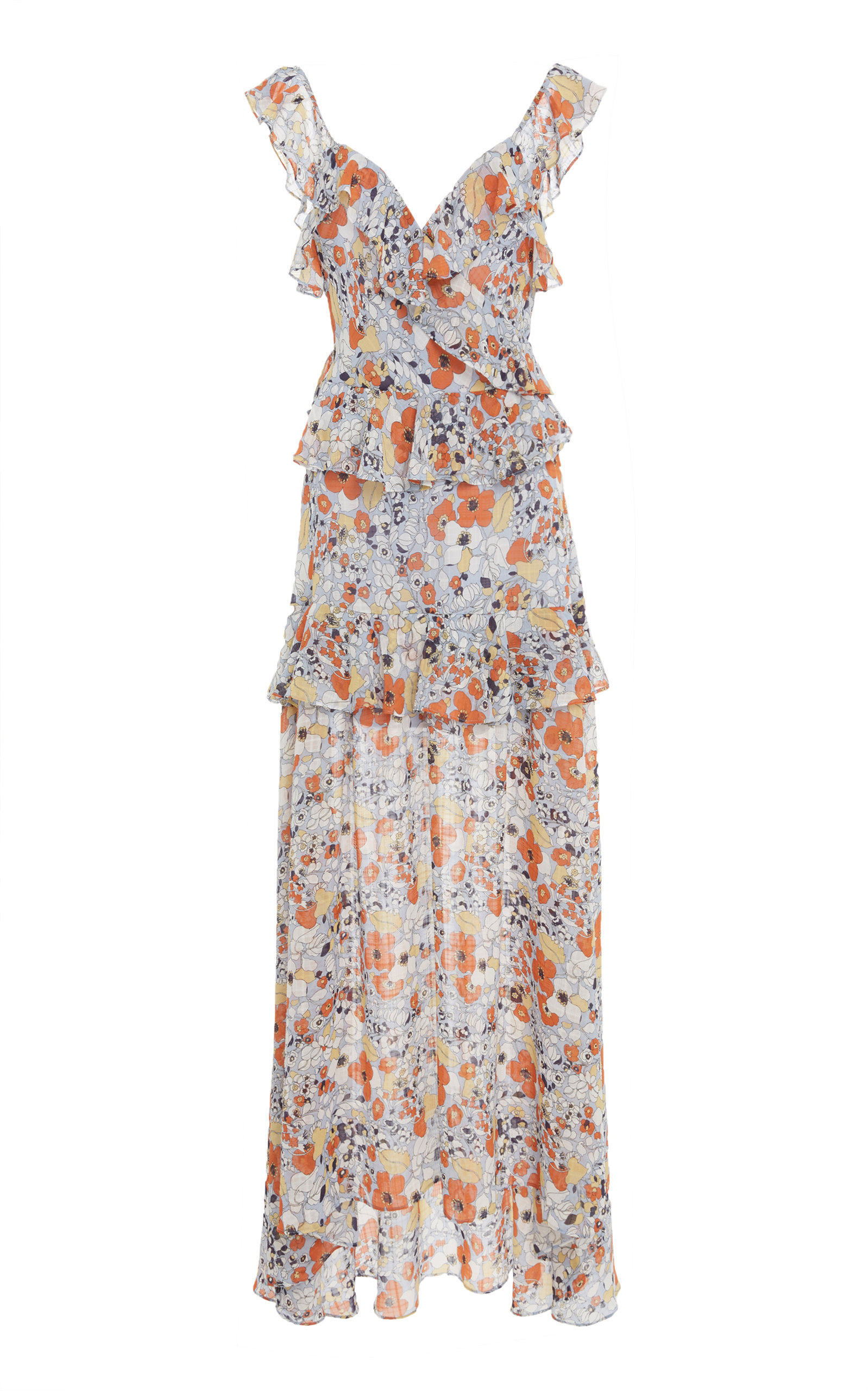 Jewell Floral Ruffle Maxi Dress in Pink