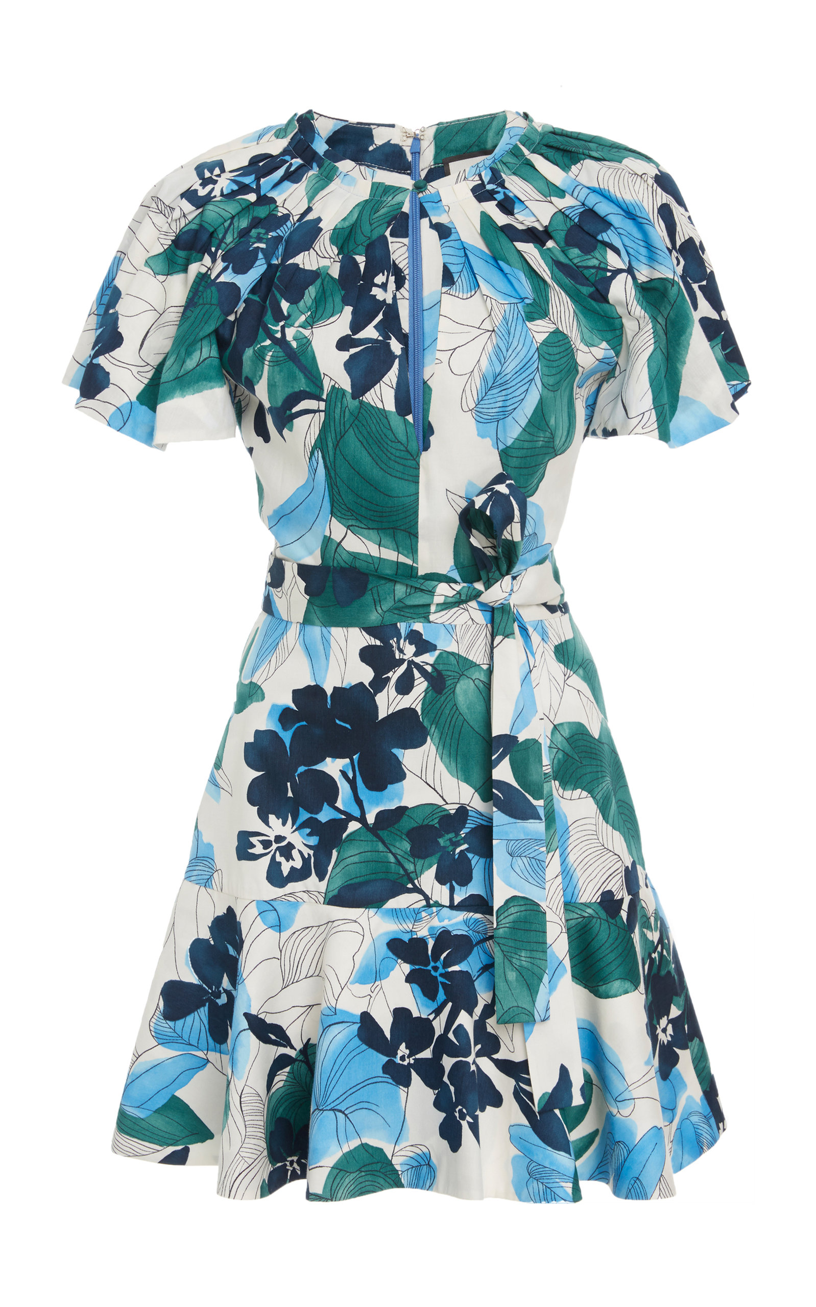 Reede Floral-Print Twist A-Line Dress in Blue Serenity